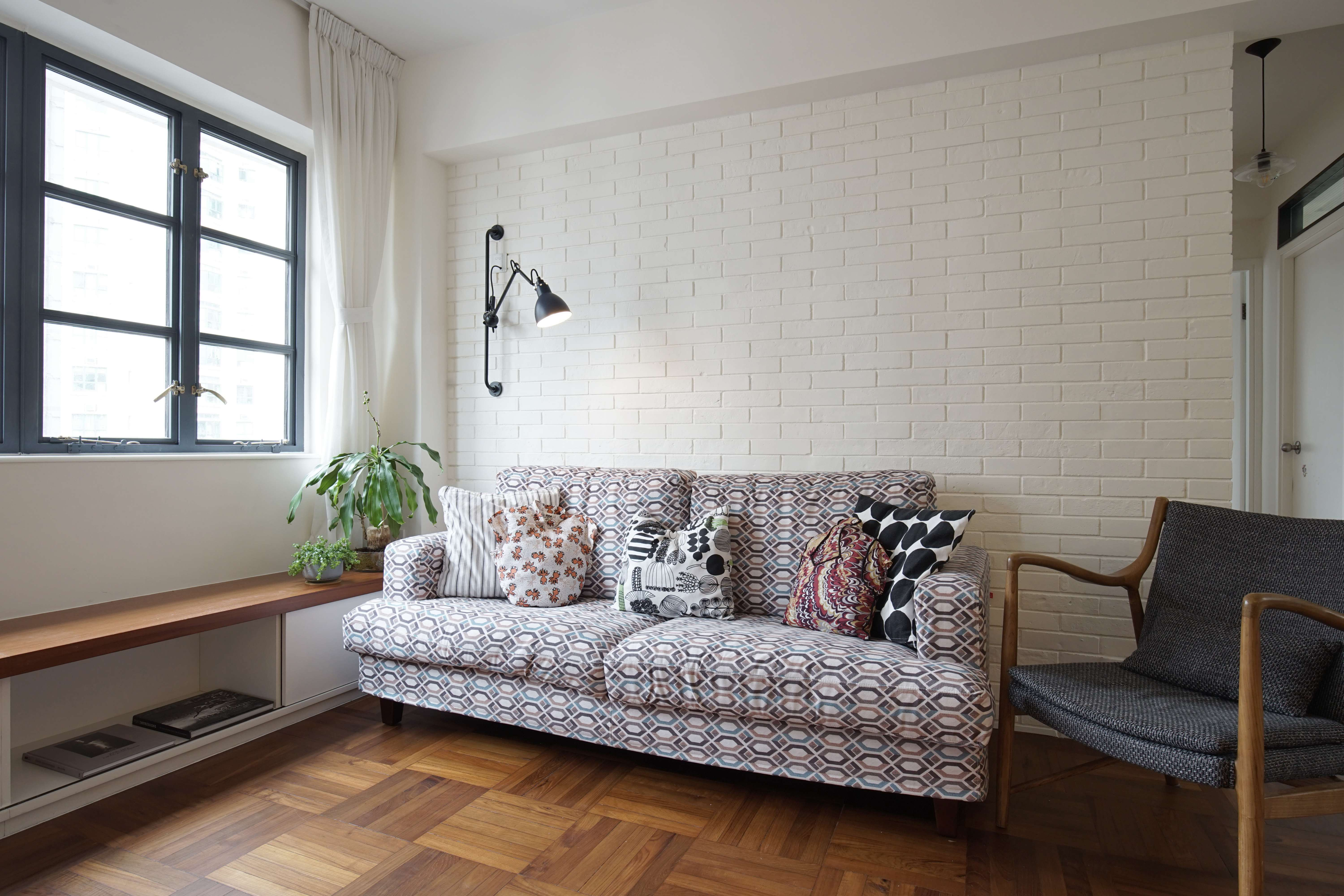 Sitting Area Cushions Covered With Fabric From Old Clothes Sit On A Re Upholstered Sofa The GRAS DCW Wall Lamp HK4000 Came Mr Blacksmith And