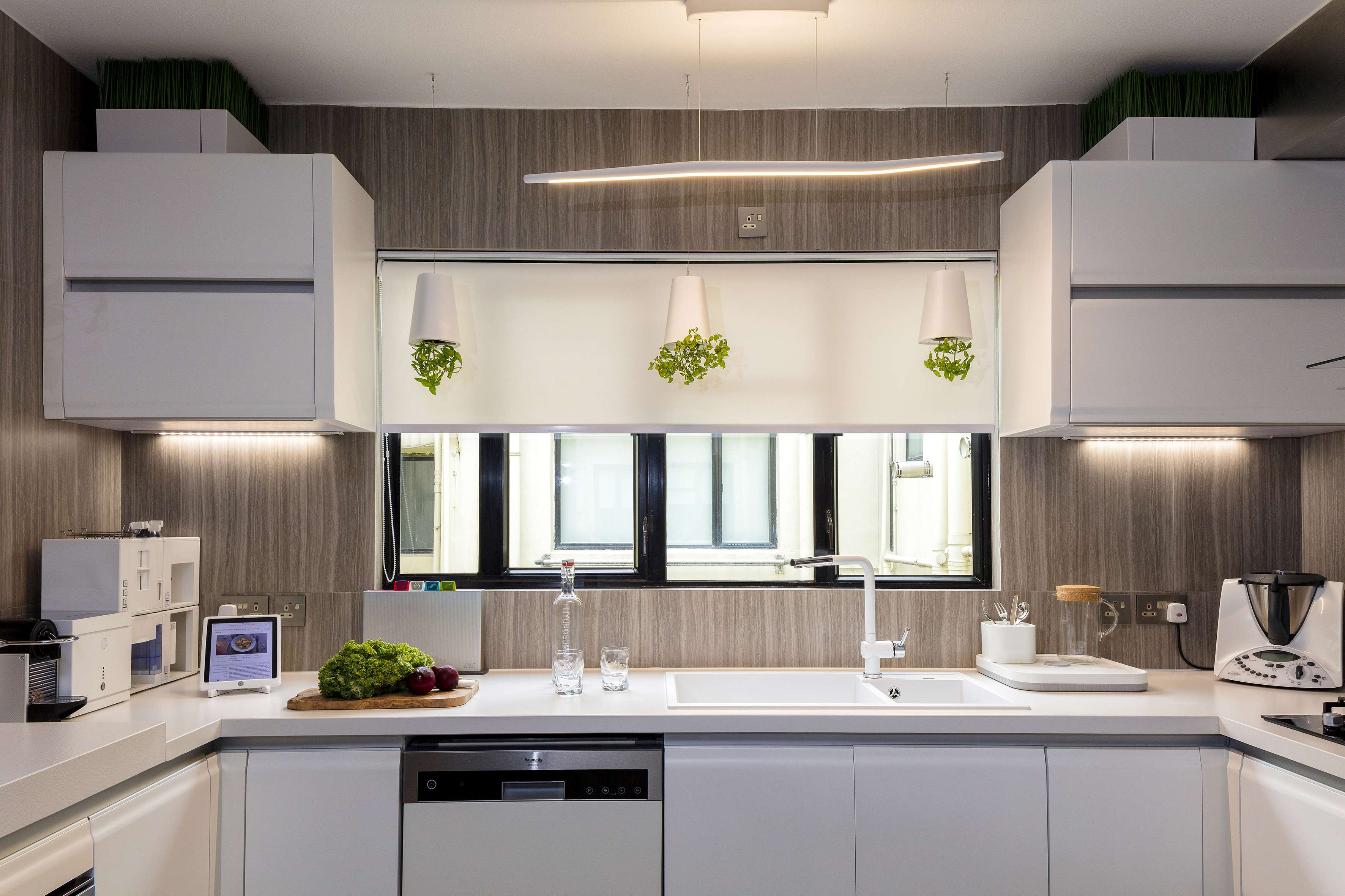 Kitchen Chu Designed The Kitchen  HK 145 000 Which Includes Ultra Durable And Easy To Clean Quartz Countertops The Suspended Planters 340 Each Are Architect Gives His Hong Kong Apartment Eco Friendly Makeover Post