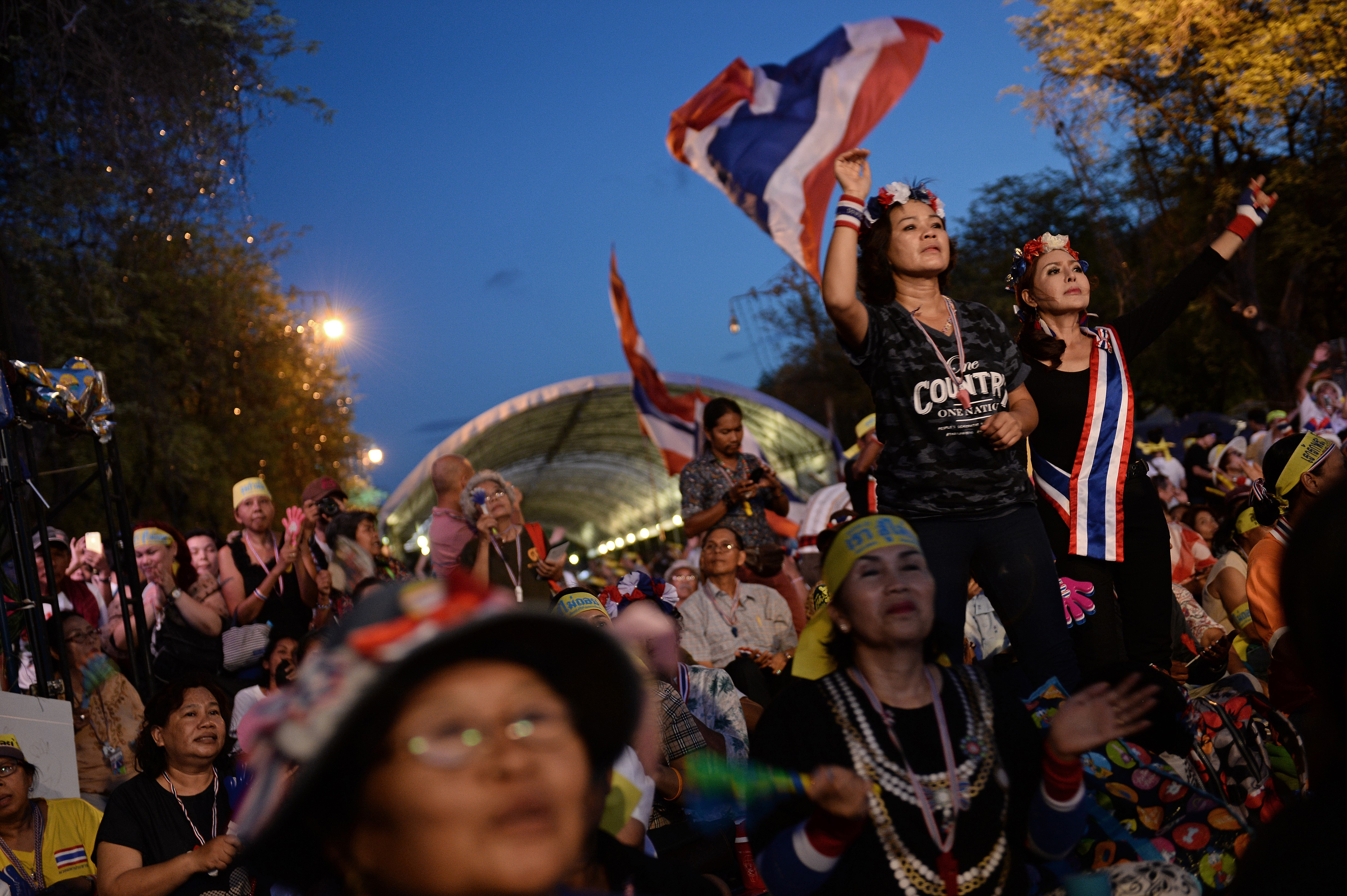 Antigovernment Protesters Celebrate Outside Government House, In Bangkok,  After Thailand's Army Chief Announced That The Armed Forces Were Seizing  Power,