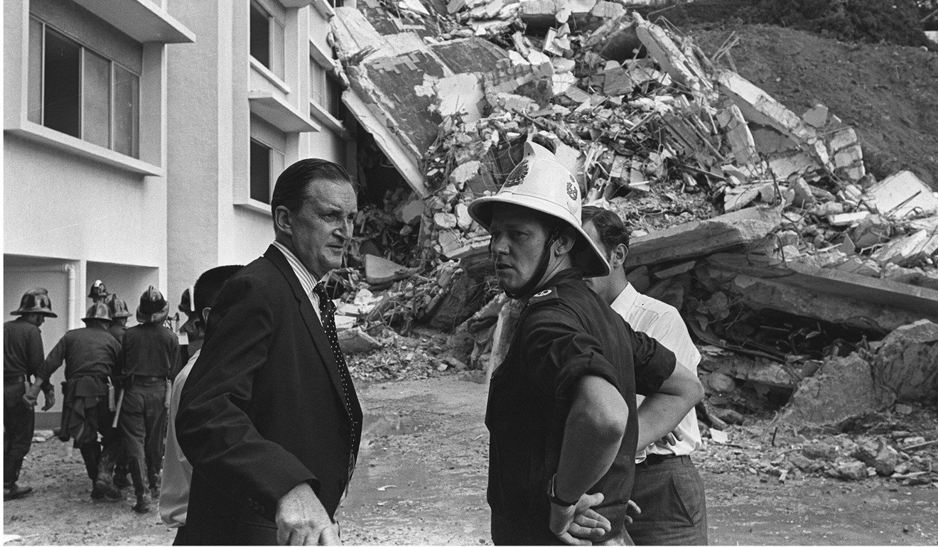 Governor Murray MacLehose at the site of the Kotewall Court collapse, in  June 1972.