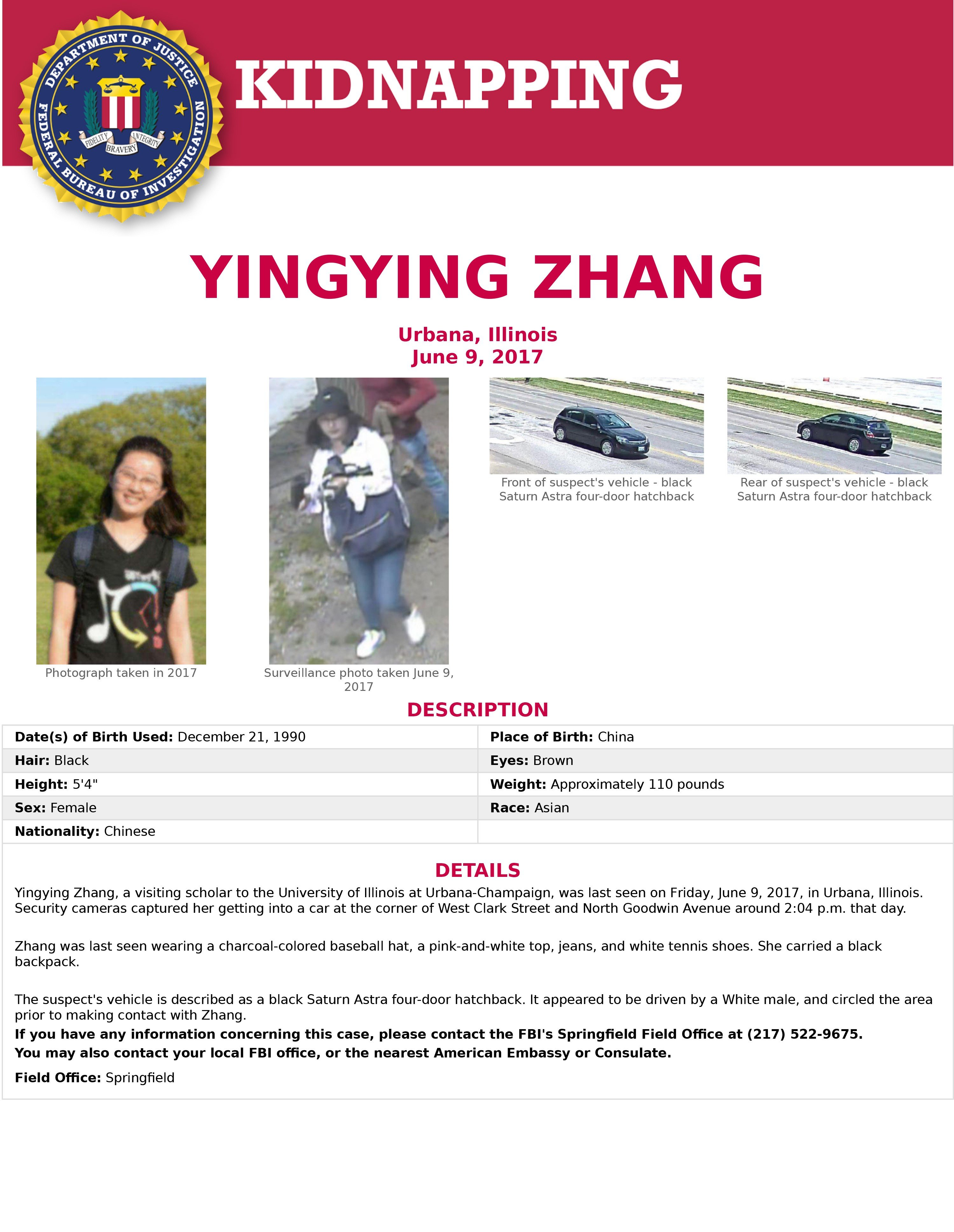 Missing Chinese student in US likely kidnapped by white man who ...
