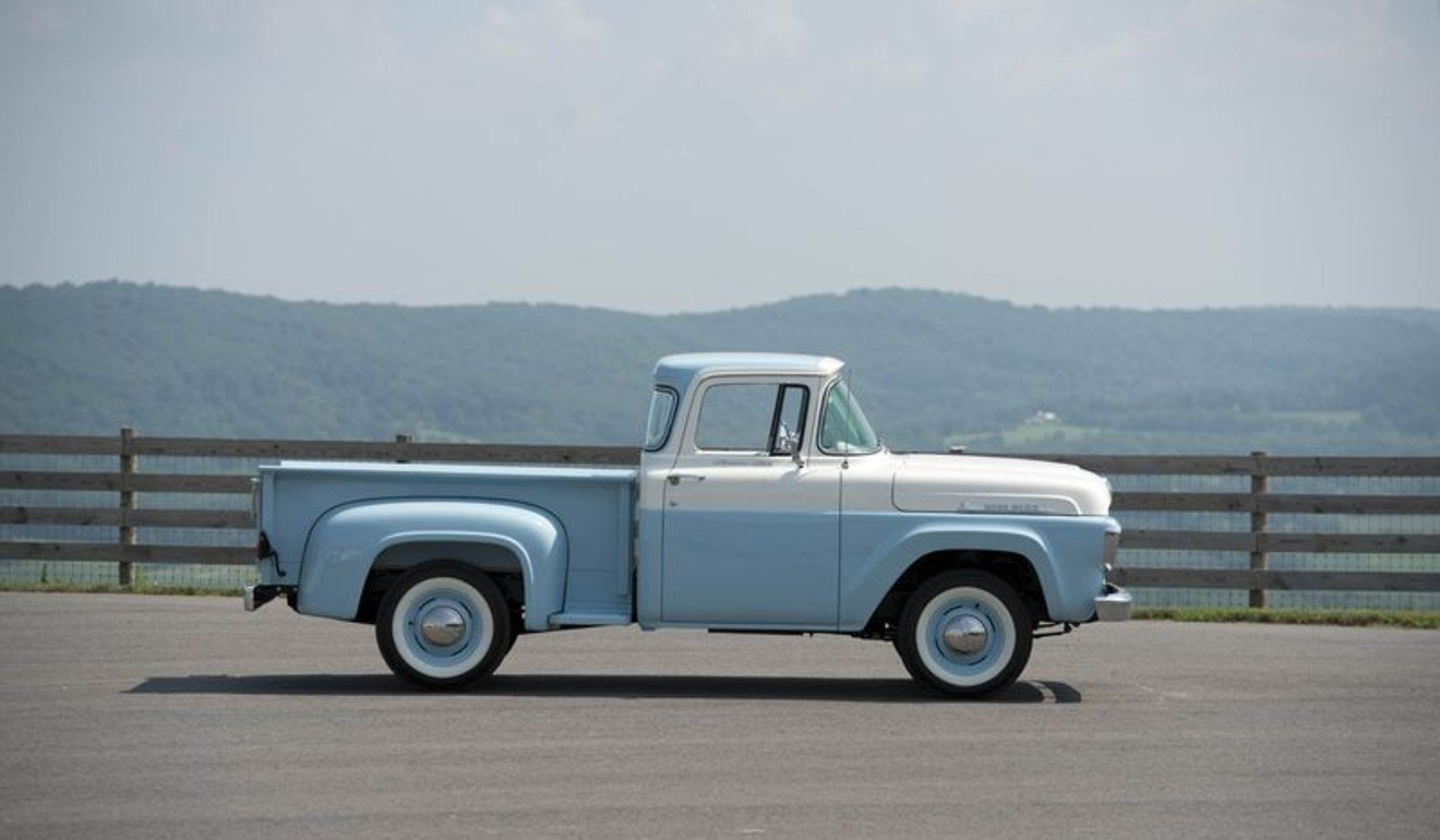 A 1958 ford f 100 custom cab pickup