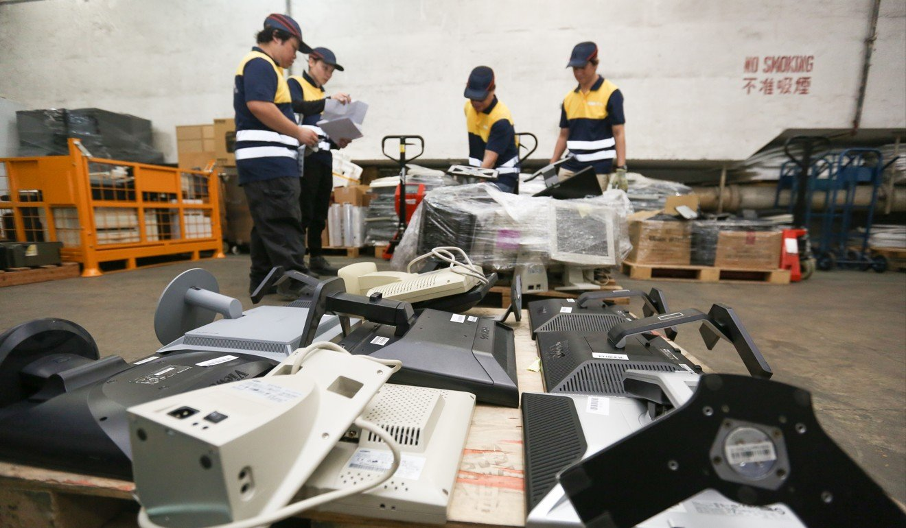 Welcome To Hong Kong The Worlds Dumping Ground For Electronic Circuit Board Recycling On Printed Blue Industrial Environmental Protection Department Workers At Waste And Electrical Equipment Facility Run By Contractor Alba Integrated
