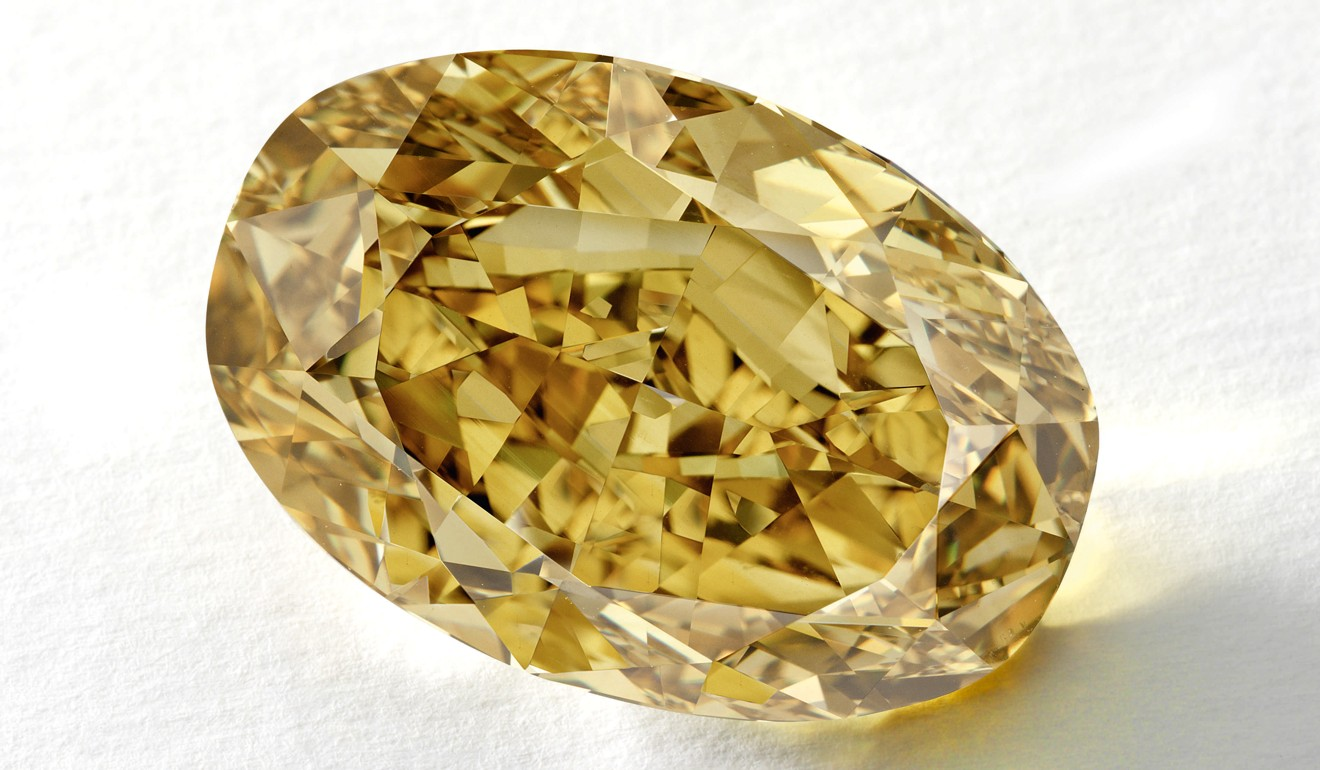 diamond diamonds fancy cushion deep carat greenish yellow brownish