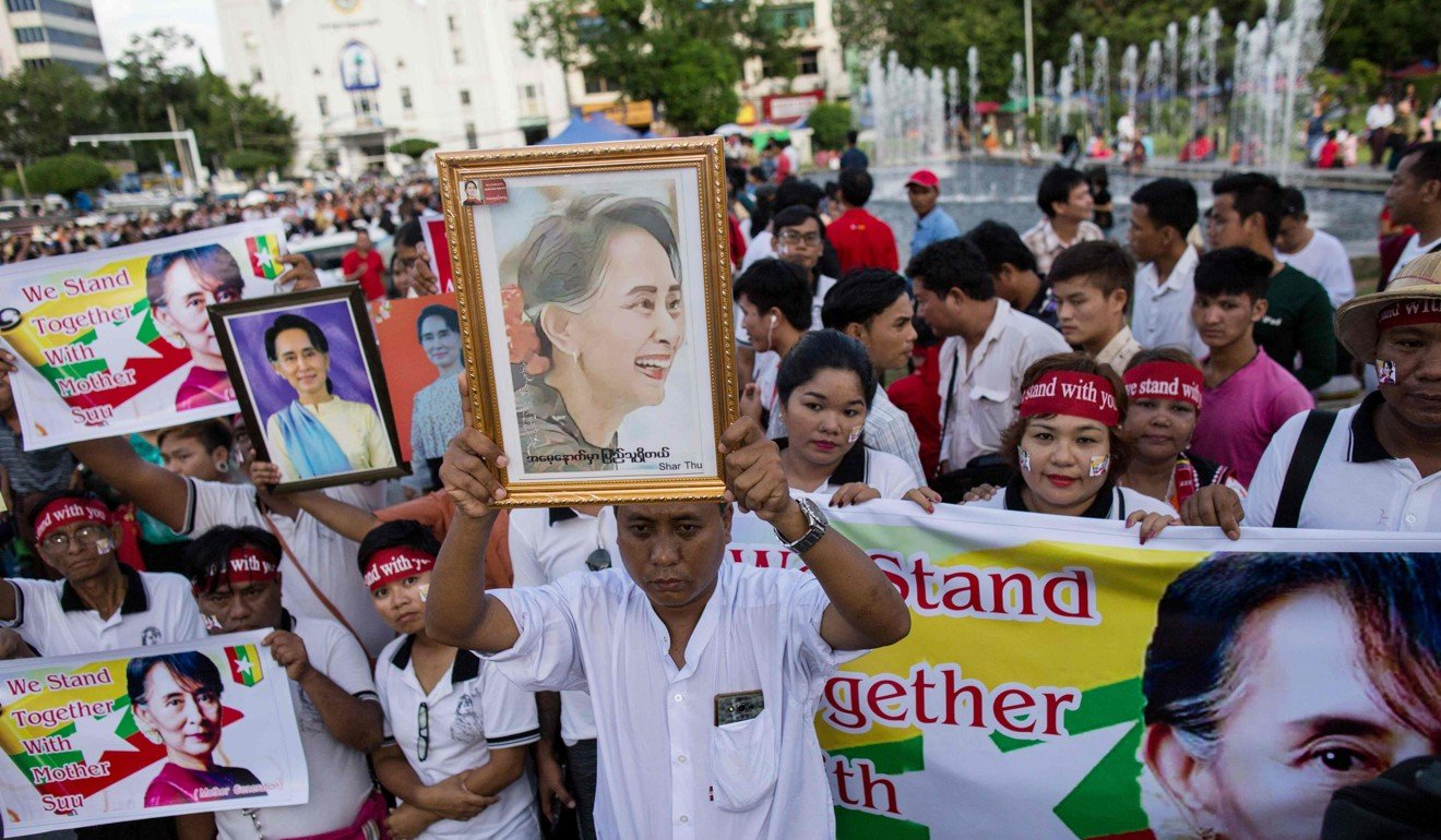 Supporters of Suu Kyi gather in front of City Hall in Yangon, on September 24. Picture: AFP