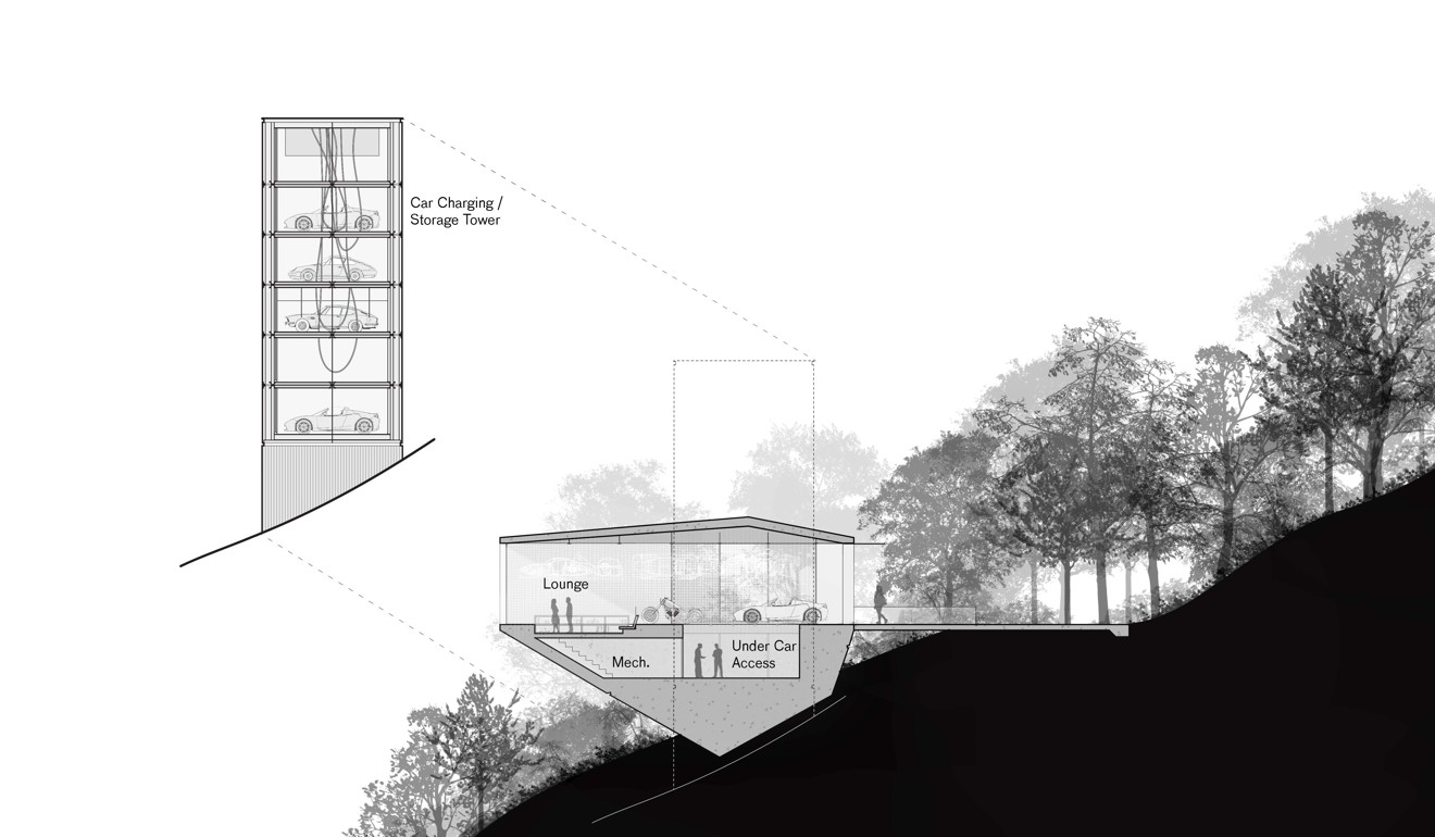 The Tower Organises The Cars Vertically To Save Land And Allow A Minimal  Footprint On The Ground.
