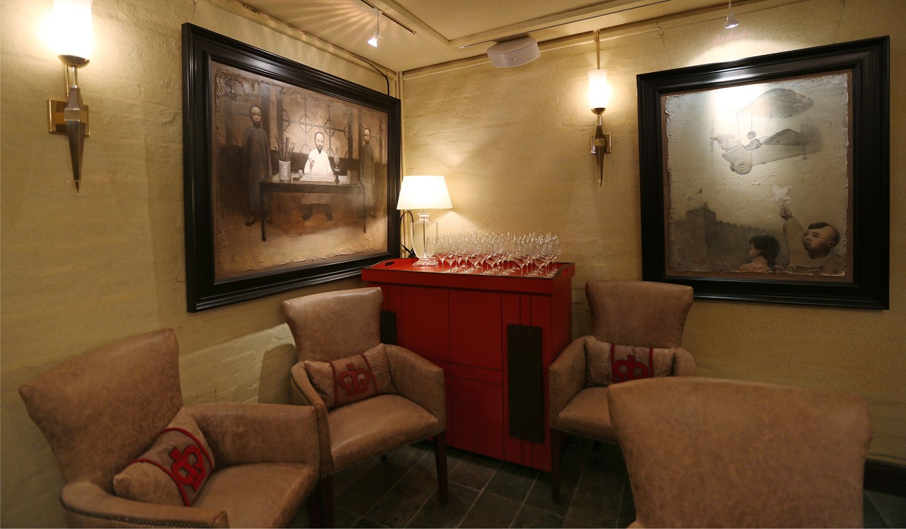 A cosy corner of Crown Wine Cellars. Photo Xiaomei Chen & Only in Hong Kong: underground wine cellar with a machine gun ...