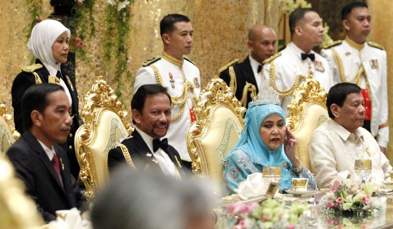 A royal banquet marking Sultan Hassanal Bolkiah of Brunei's Golden Jubilee was attended by Indonesian President Joko Widodo and Philippine President Rodrigo Duterte, among others. Photo: The Straits Times