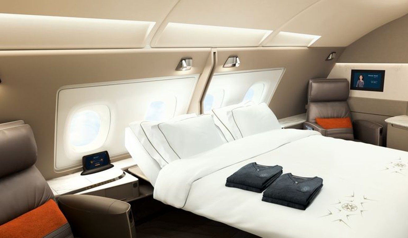 The new Singapore Airlines suites will have a separate bed  alongside the  adjustable leather seat  Photo  Bloomberg. Singapore Airlines becomes the first carrier to put a double bed