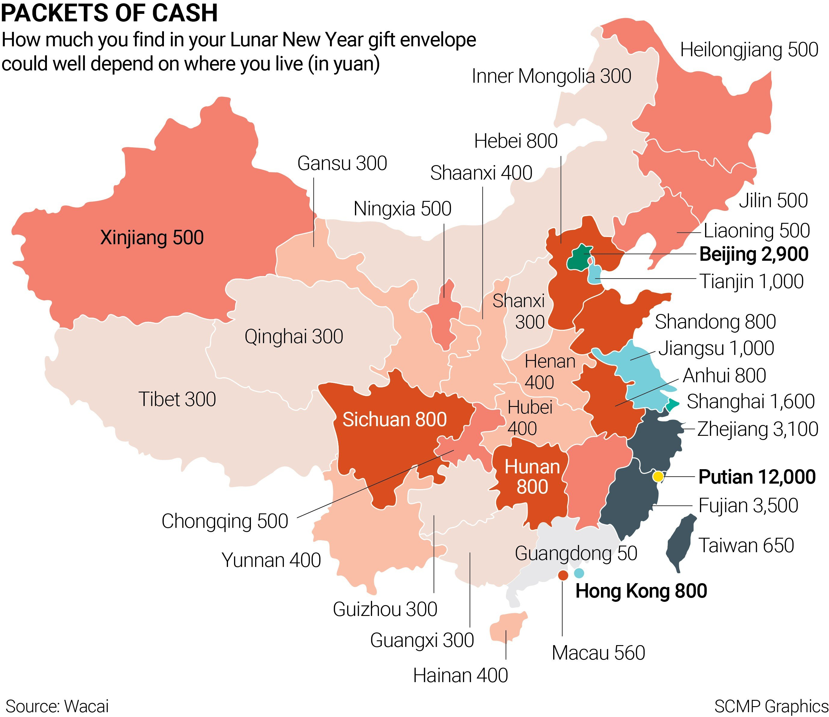 Want a big hongbao this Lunar New Year? Map shows China\'s \'most and ...