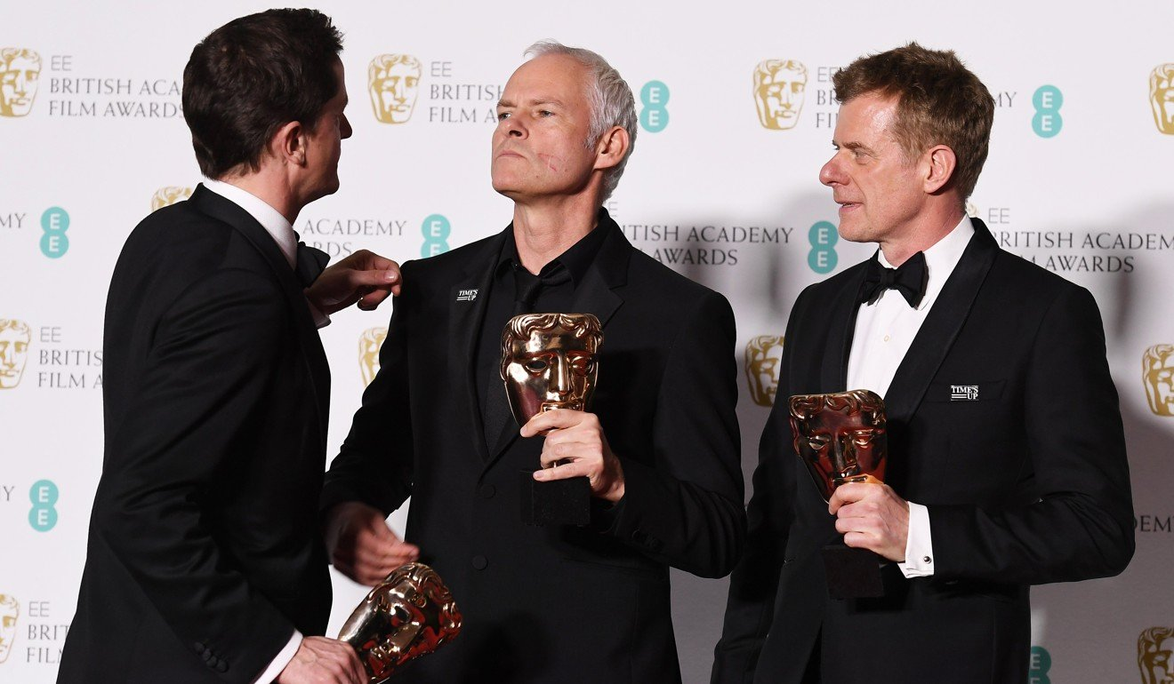 Three billboards takes best film actress and other prizes at martin mcdonagh centre writer and director of three billboards is seen with producers pete czernin left and graham broadbent after winning malvernweather
