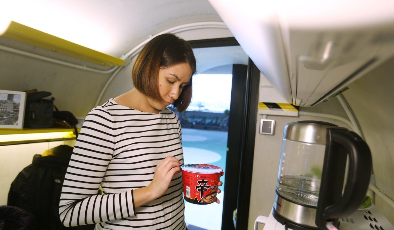 With no bench space, the OPod's cooking options are limited. Instant noodles were the answer for reporter Alkira Reinfrank. Photo: Xiaomei Chen