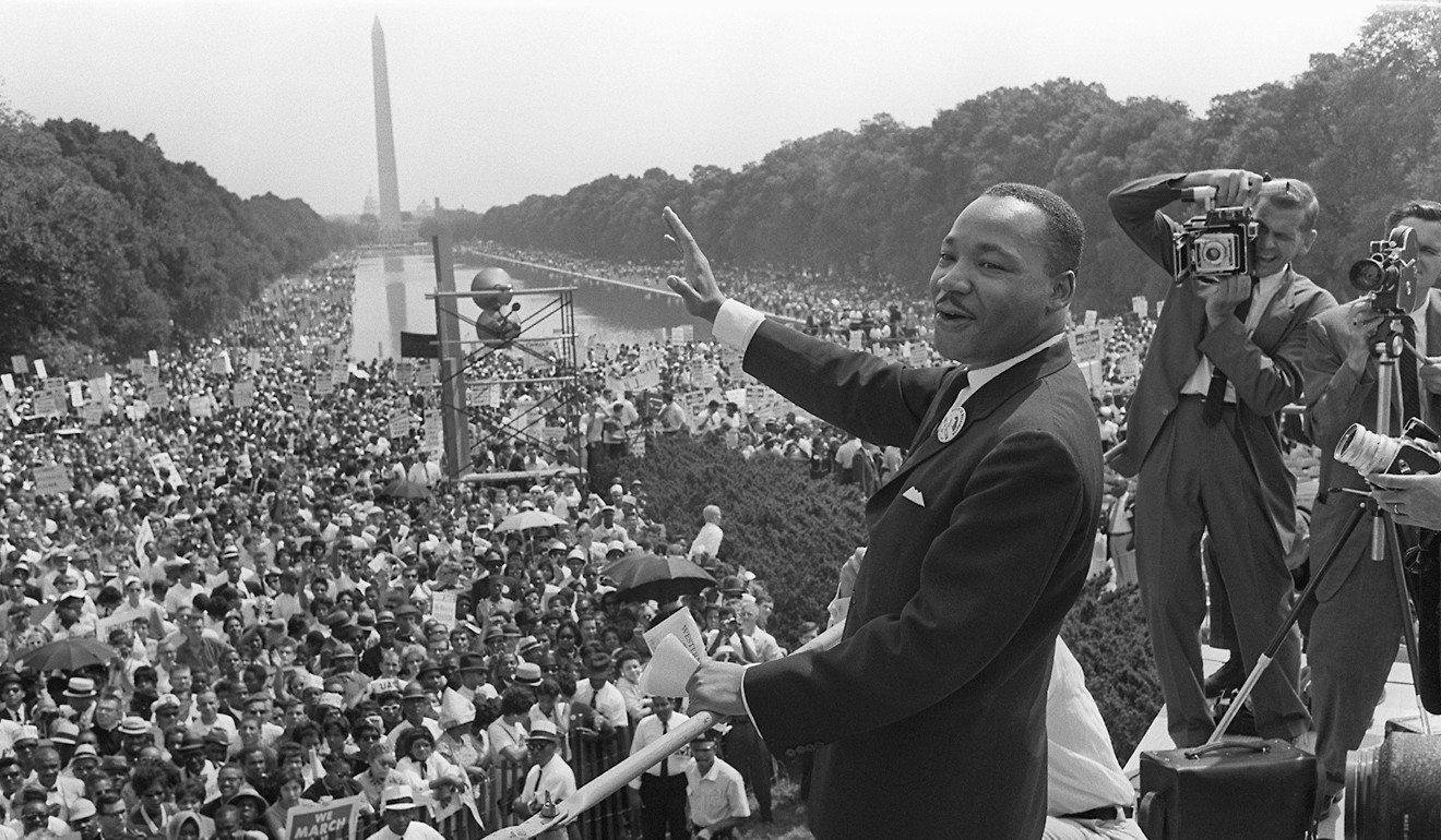 Martin Luther King Jnr Hailed As Apostle Of Non Violence On 50th Rider Sport Boxer R 383 Civil Rights Leader Waves To Supporters During The March Washington Mall In August 28 1963 Photo Afp