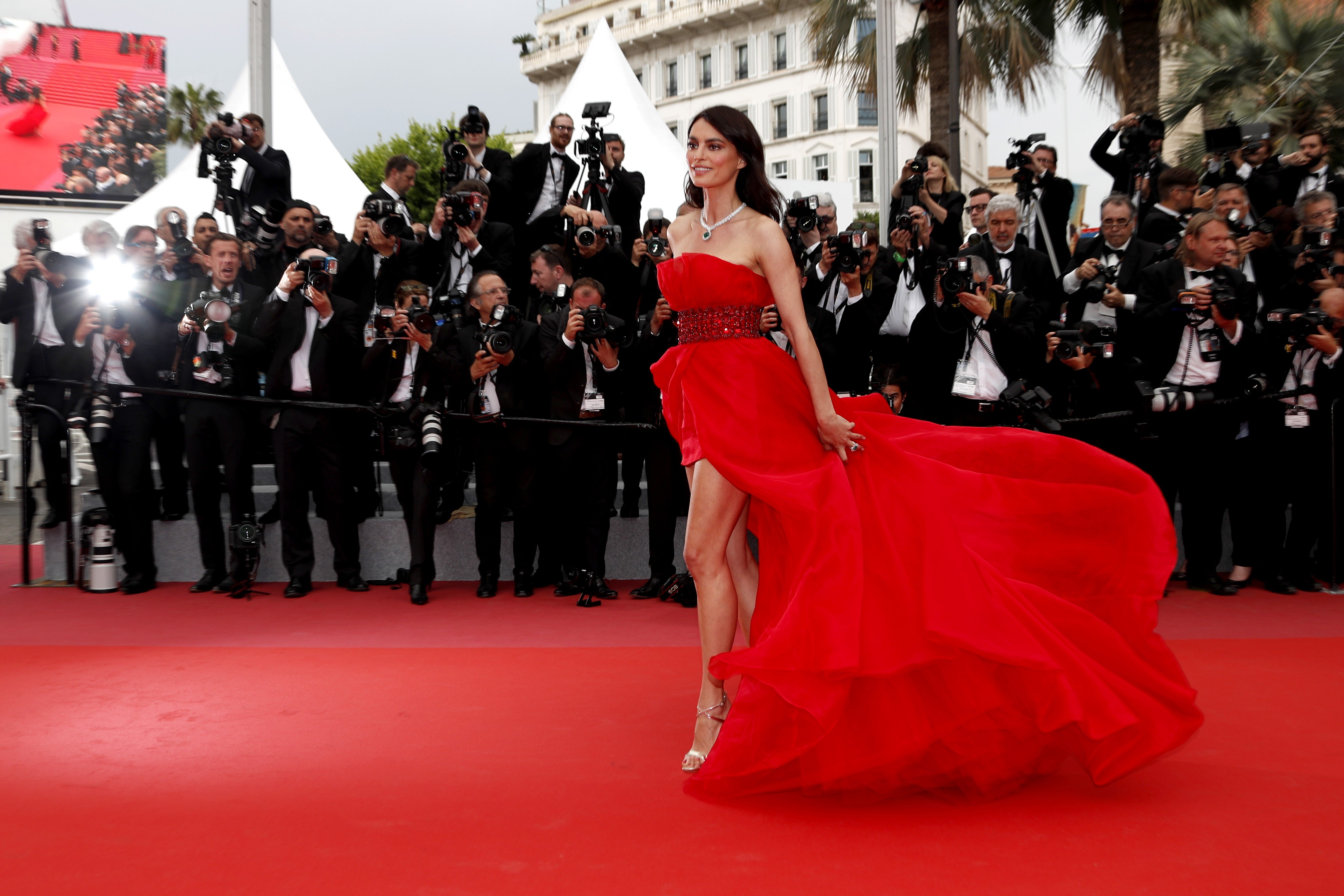 Fashion model Catrinel Menghia is photographed on the red carpet as she  arrives for a film screening at the Cannes Film Festival in France on  Wednesday.