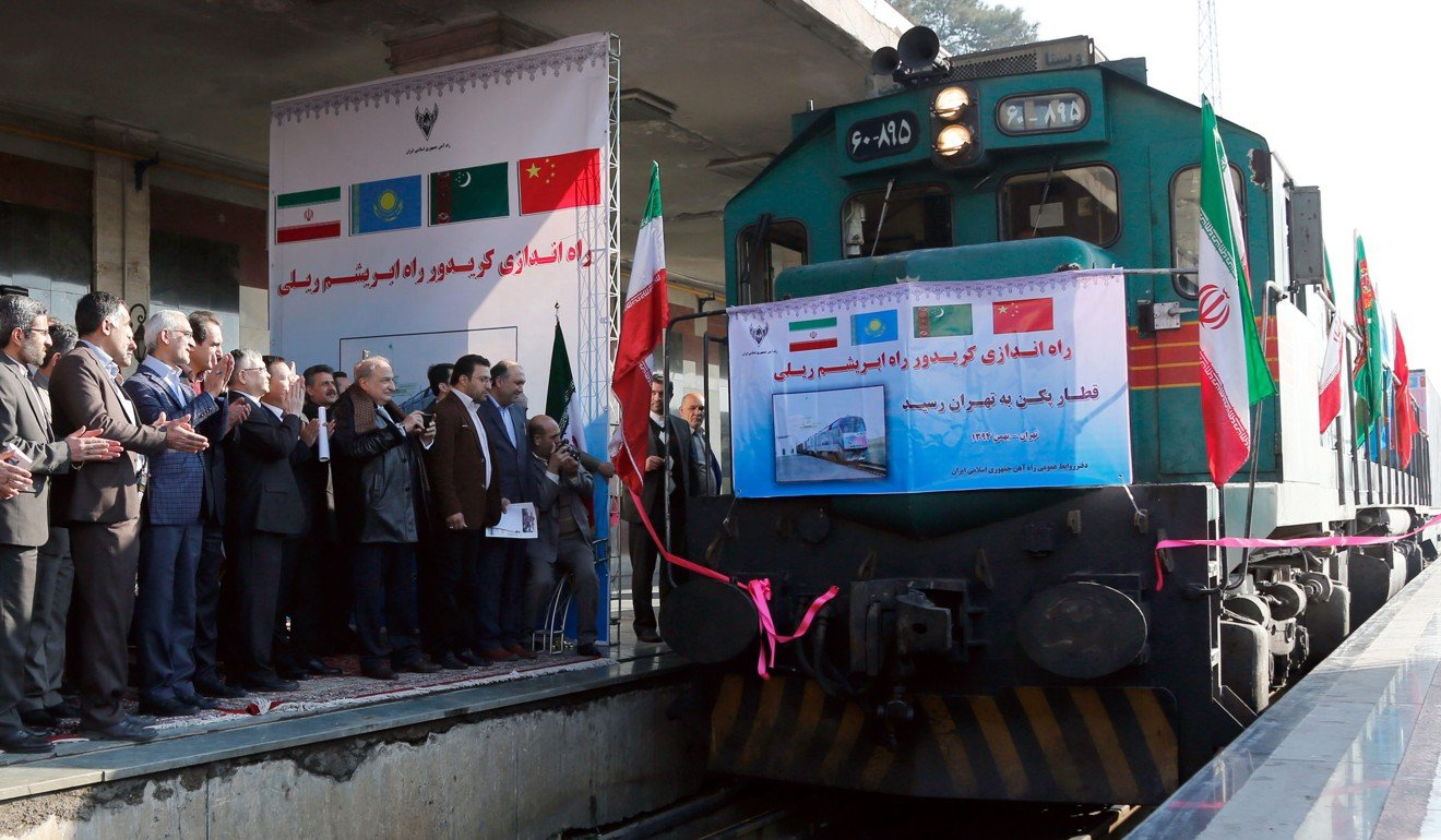 The first Chinese cargo train arrives in Tehran in 2016, as part of Xi Jinping's plan to improve infrastructure links between China and Central Asia. Photo: EPA