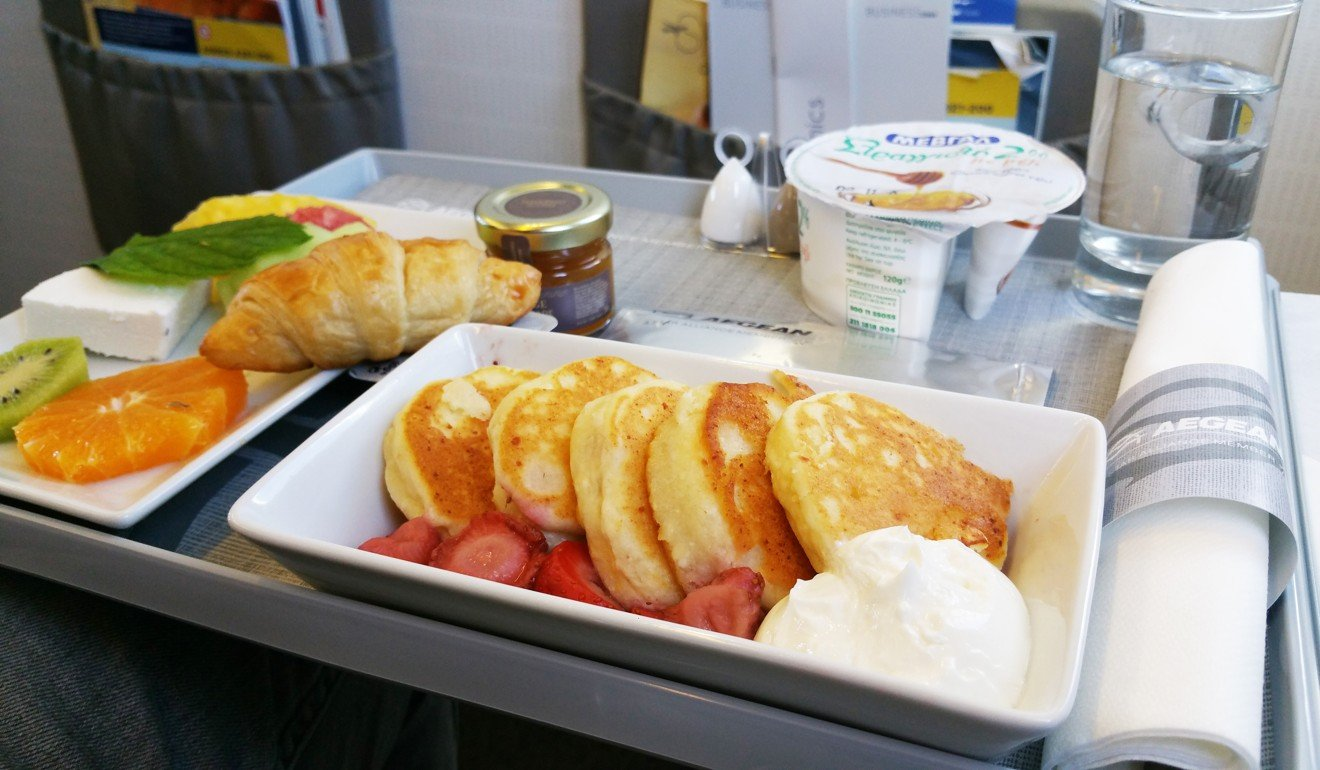 Aegean Airlines' pancakes served with anthotyros cheese and caramelised strawberries. Photo: Nikos Loukas