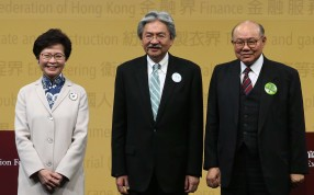 Chief executive candidates Carrie Lam, John Tsang and Woo Kwok-hing line up before the debate. Photo: David Wong