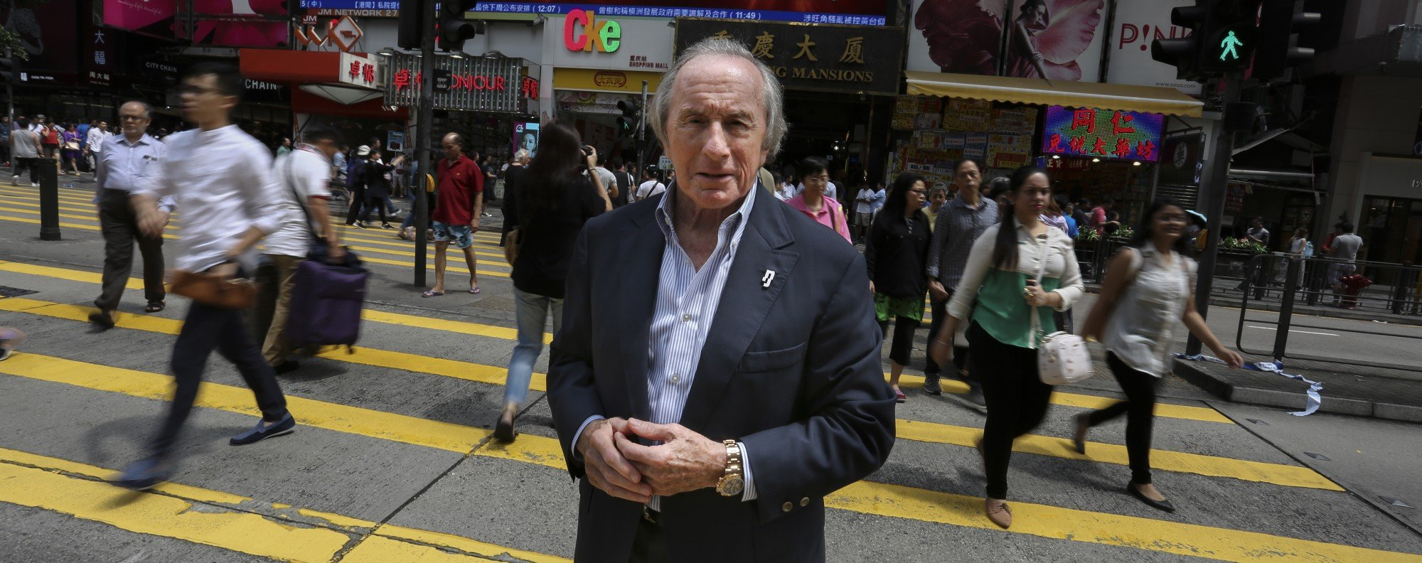 Jackie Stewart, outside Chungking Mansions. Picture: Jonathan Wong