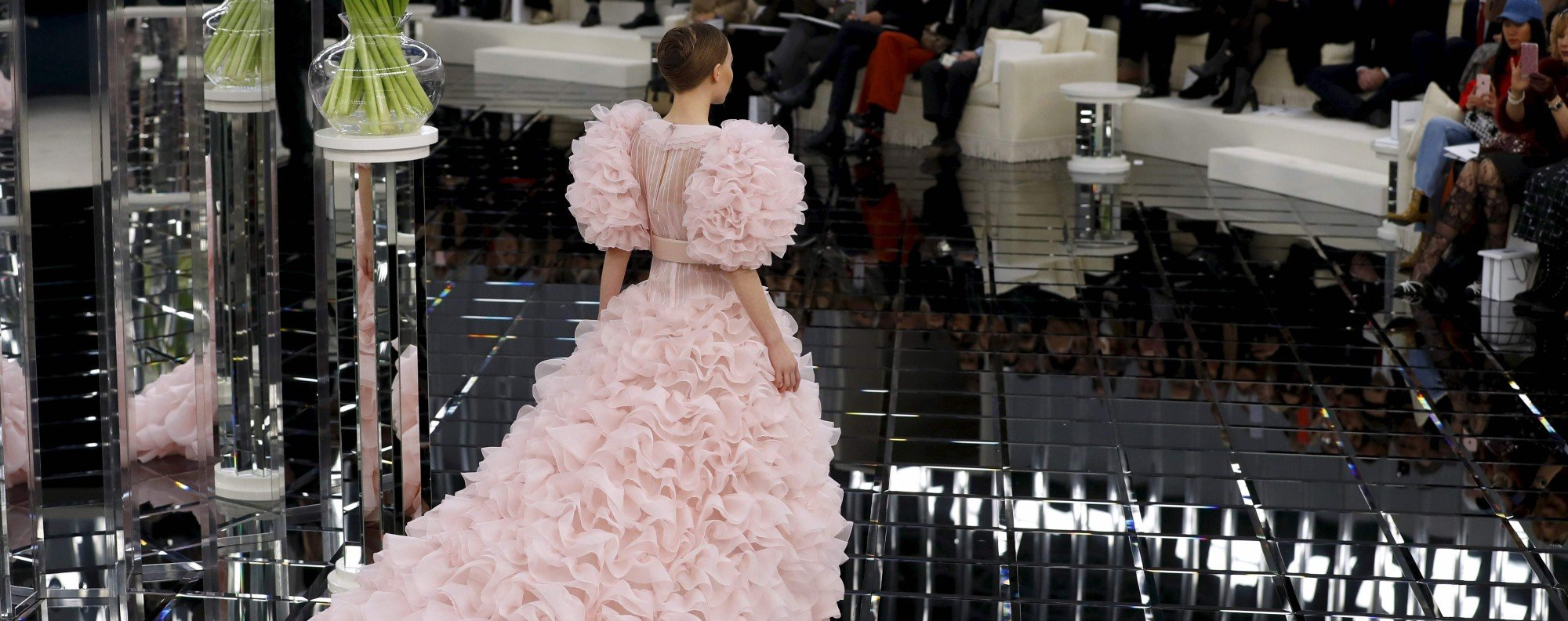 Lily-Rose Depp models for Chanel's 2017 spring/summer Haute Couture collection. Photo: AFP