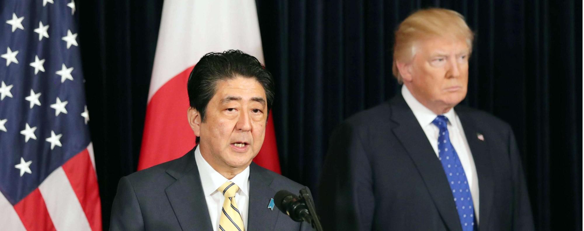 Shinzo Abe and Donald Trump. Photo: Kyodo