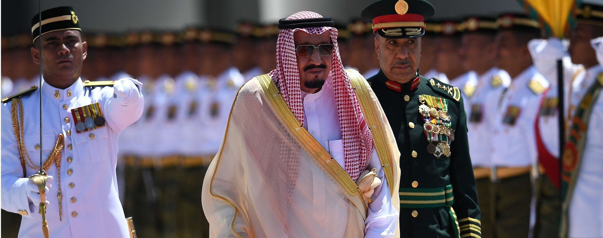 Saudi King Salman is welcomed to Kuala Lumpur. Photo: AFP