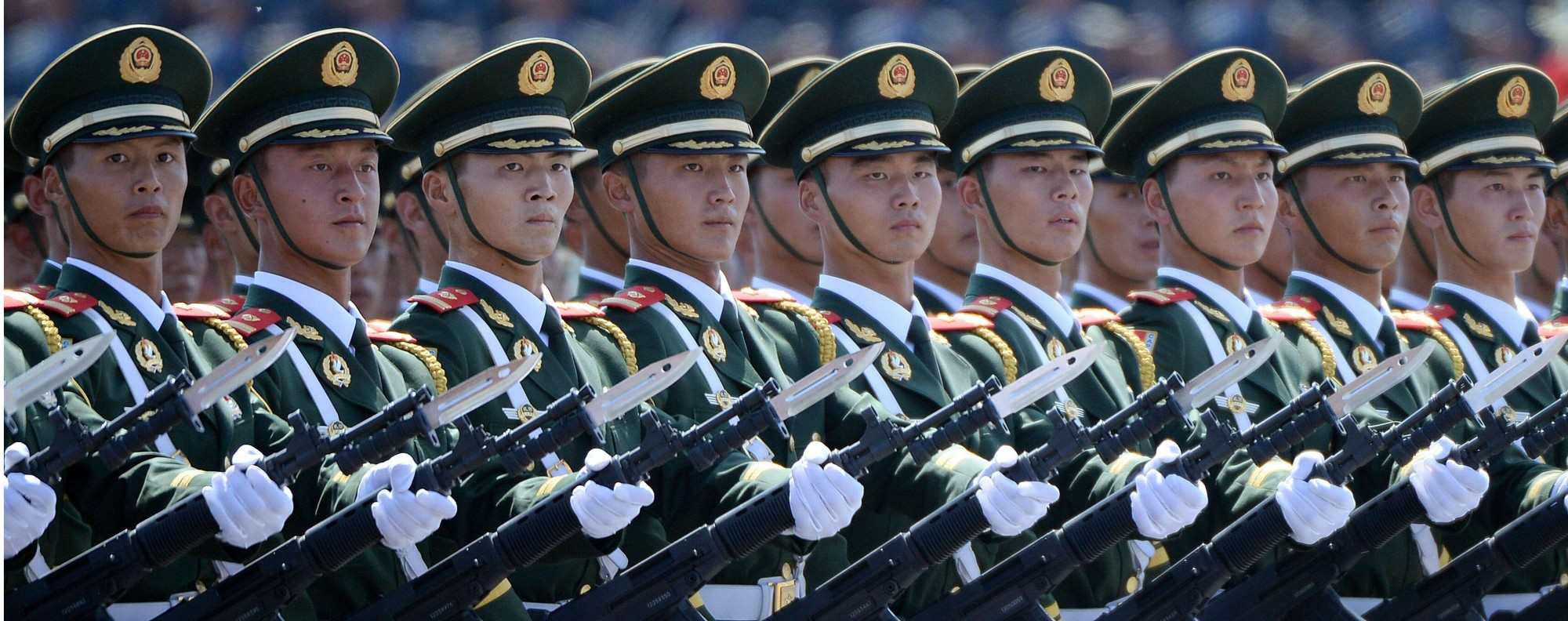 Chinese soldiers march in Tiananmen Square. Photo: AFP