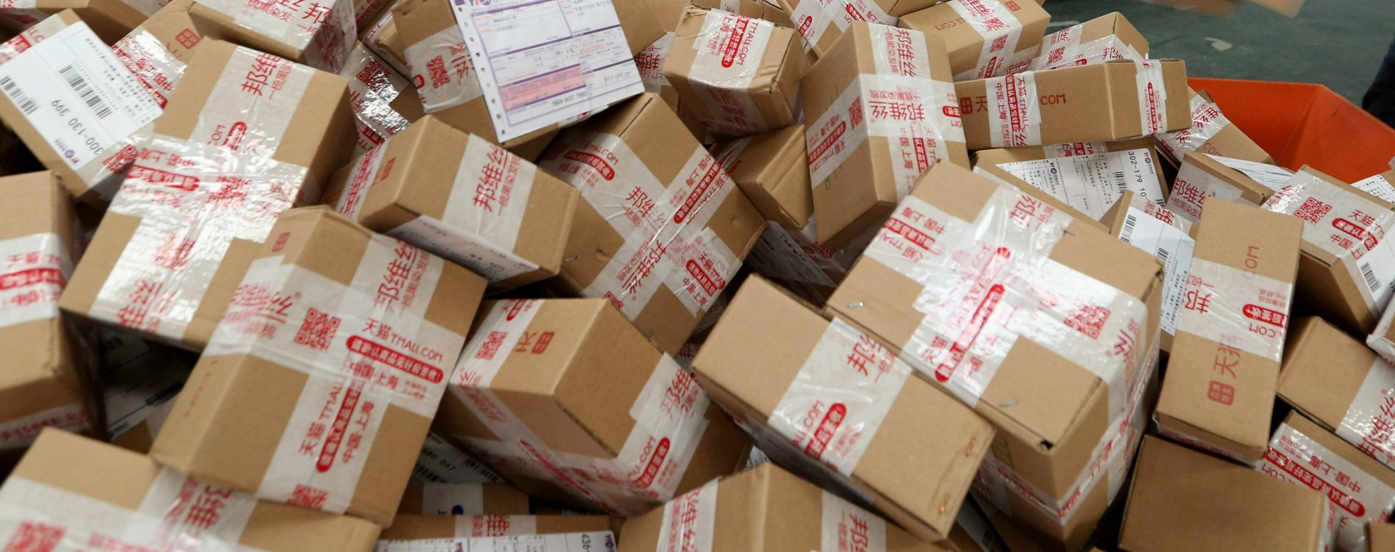 Goods packaged for delivery. Photo: AFP
