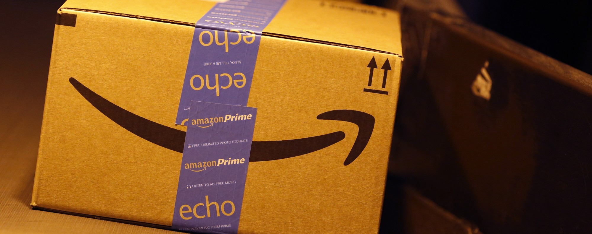 An Amazon package moves down a conveyor belt. Photo: Bloomberg