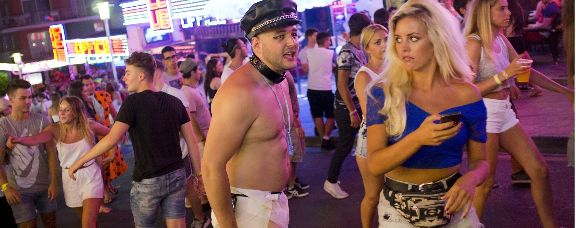 A Briton lets it all hang out in Magaluf, on the Spanish island of Mallorca. Picture: AFP