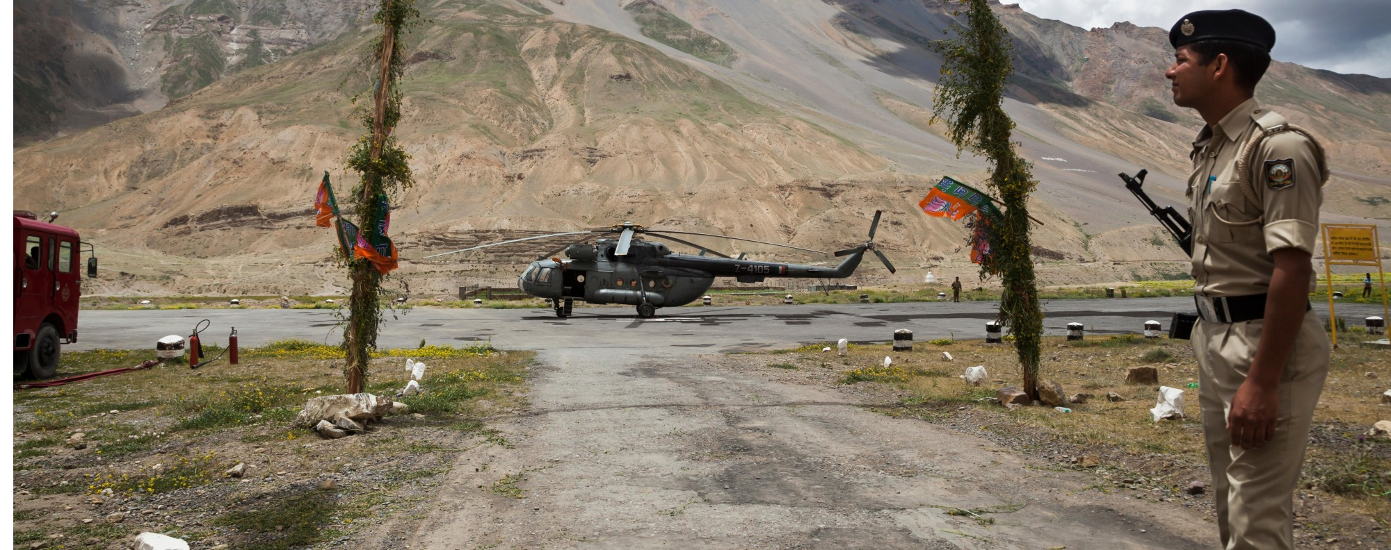 An Indian soldier guards a helicopter near the border in Himachal Pradesh. Handout photo