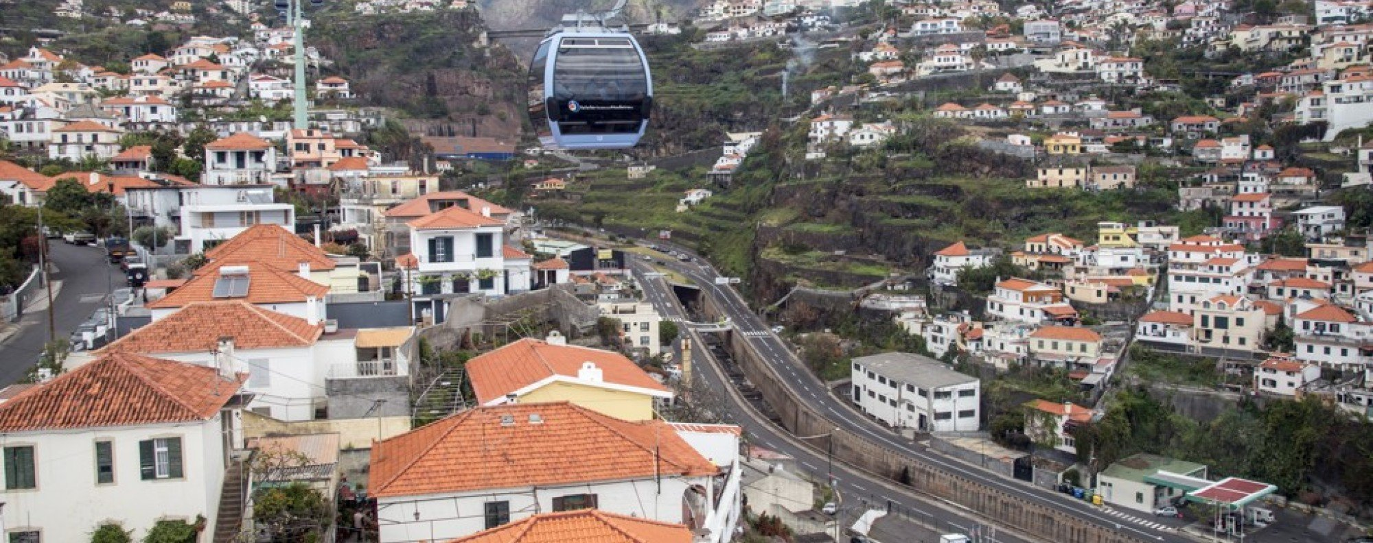 A cable car glides over Funchal, the capital of Madeira, Portugal.