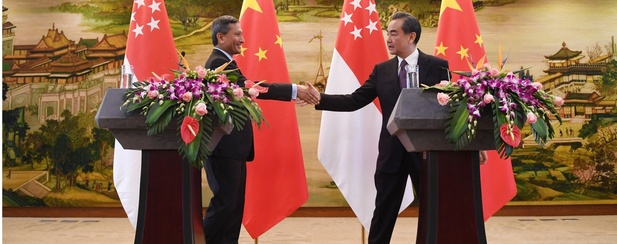 The foreign ministers of Singapore and China. Photo: AFP