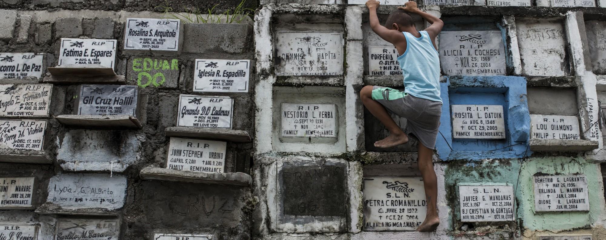 Bone boxes at Navotas City Cemetery, Manila. Picture: Paul Ratje