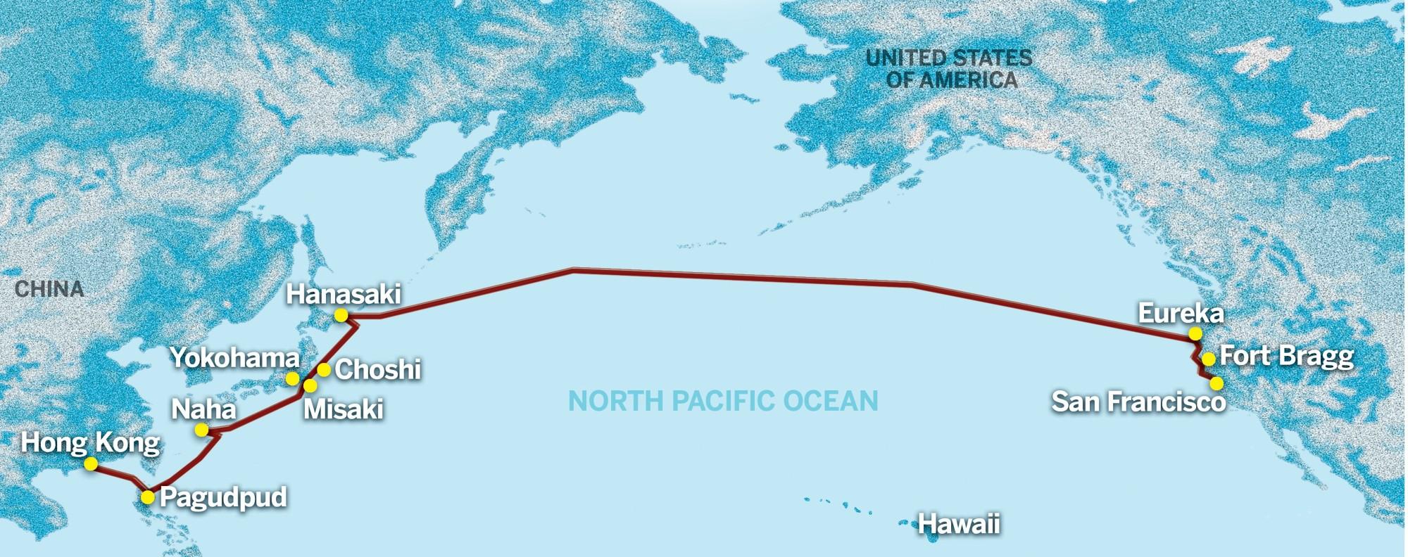 Brian Platt's sailing route from Hong Kong to San Francisco, in 1959.