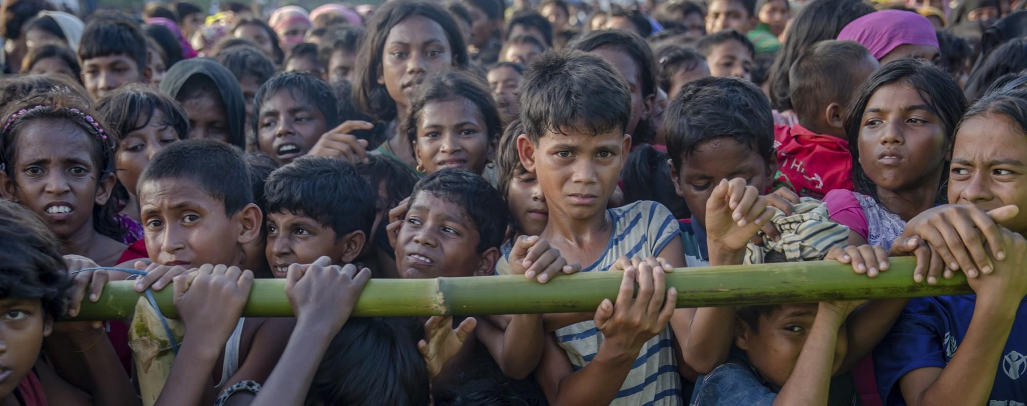 Rohingya Muslim children in Balukhali refugee camp, in Bangladesh.