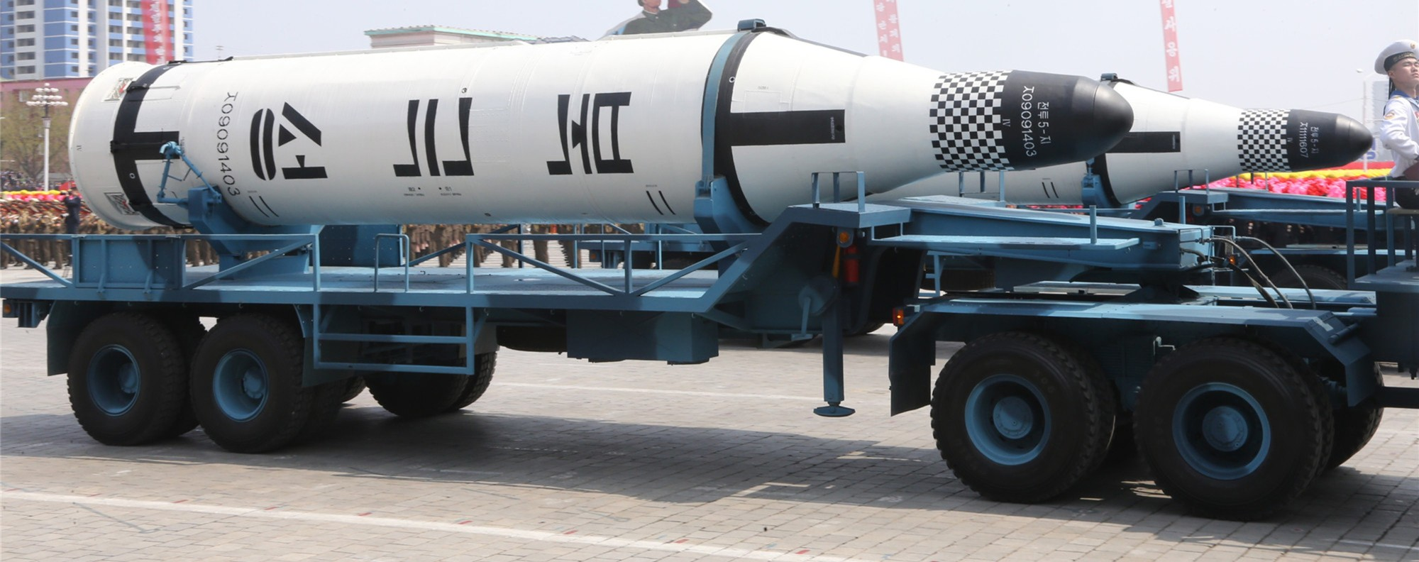 A ballistic missile is displayed during a parade in Pyongyang. Photo: Xinhua