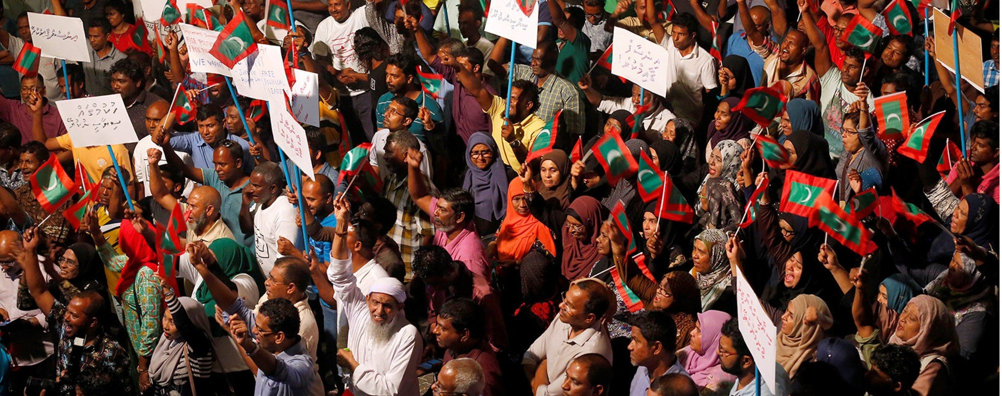 An opposition protest against the Maldives government. Photo: Reuters