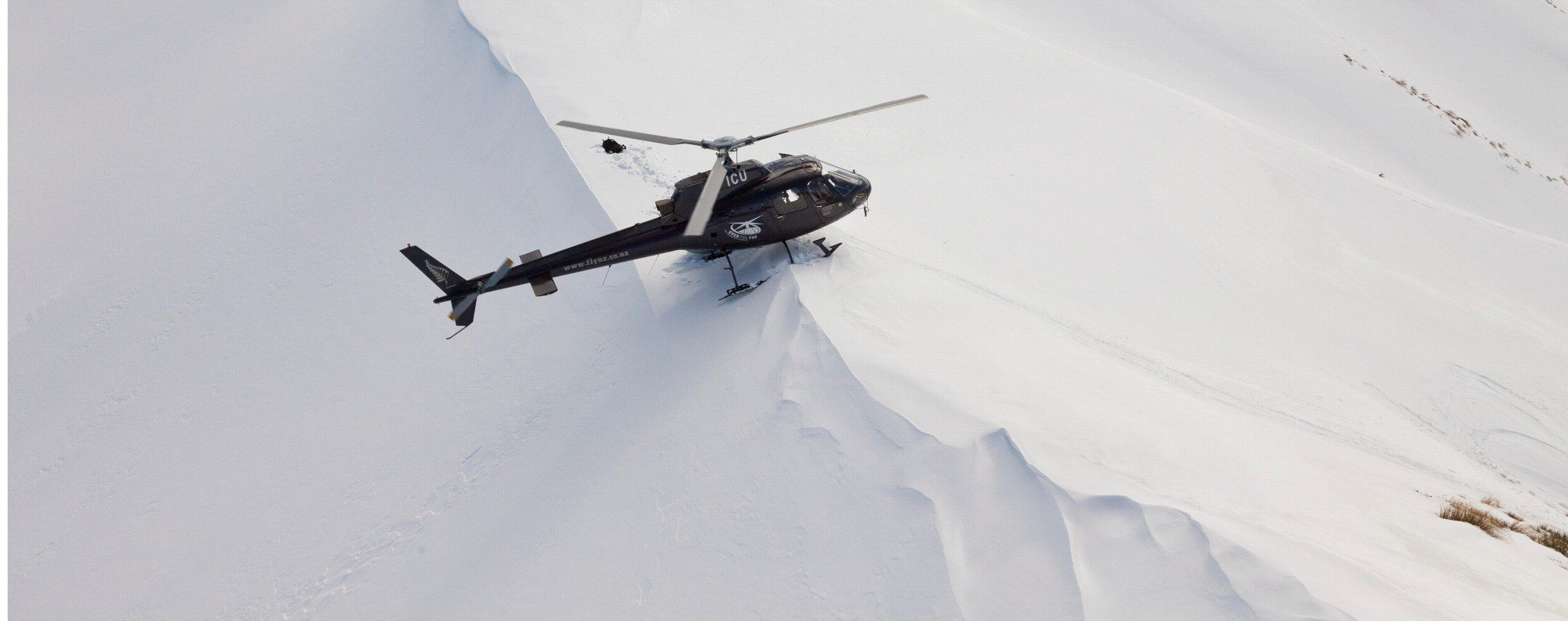 Heli-skiing in New Zealand.