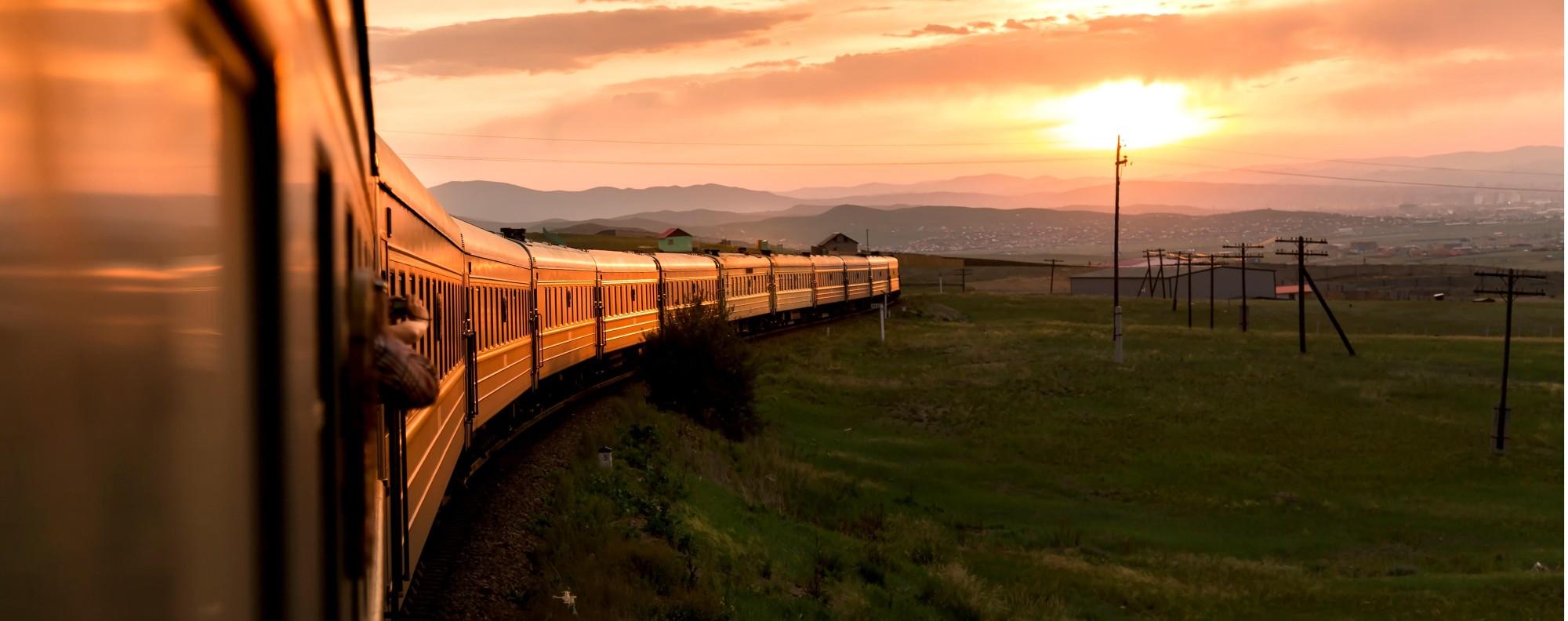Sunrise over a Trans-Siberian train.