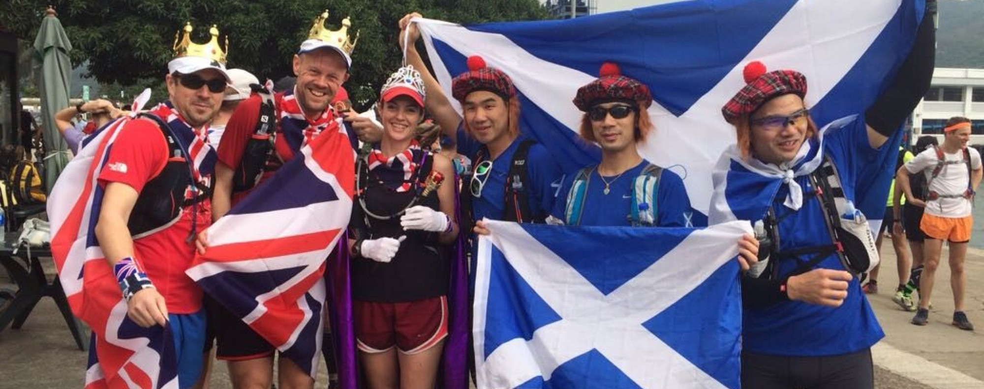 An unofficial Country of Origin in 2015 saw Scots and Britons run side by side. But when Choi's team dressed as London Beefeaters at the first official race in 2016, it was game on. Photos: Handout