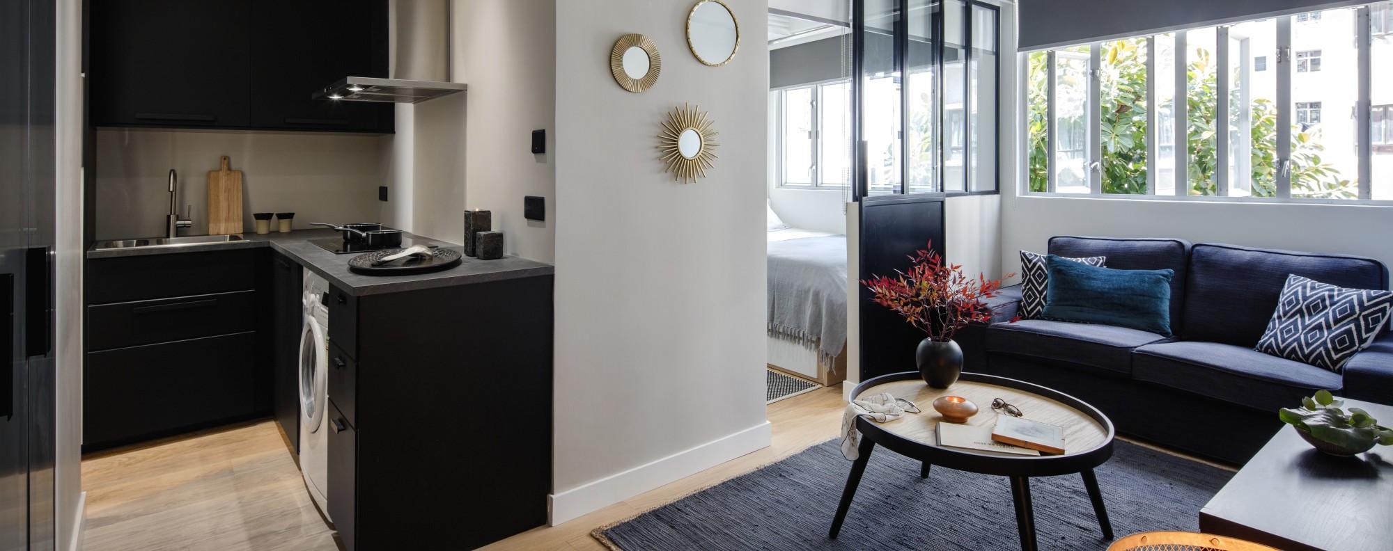 Noemie Bernard's 300 sq ft flat in Kennedy Town.