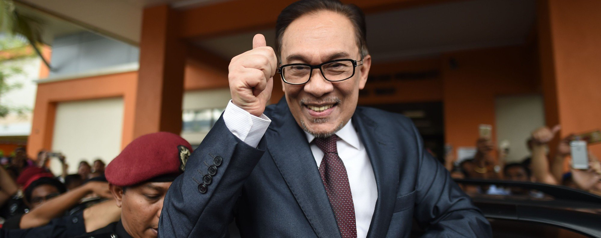 Anwar Ibrahim after his release in Kuala Lumpur. Photo: AFP