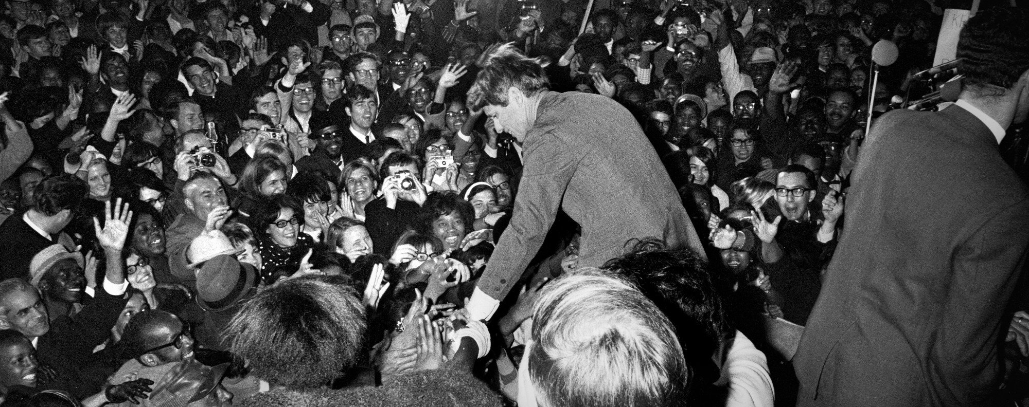 Presidential candidate Robert F. Kennedy greets crowds in Washington, DC in April 1968. Picture: The Washington Post