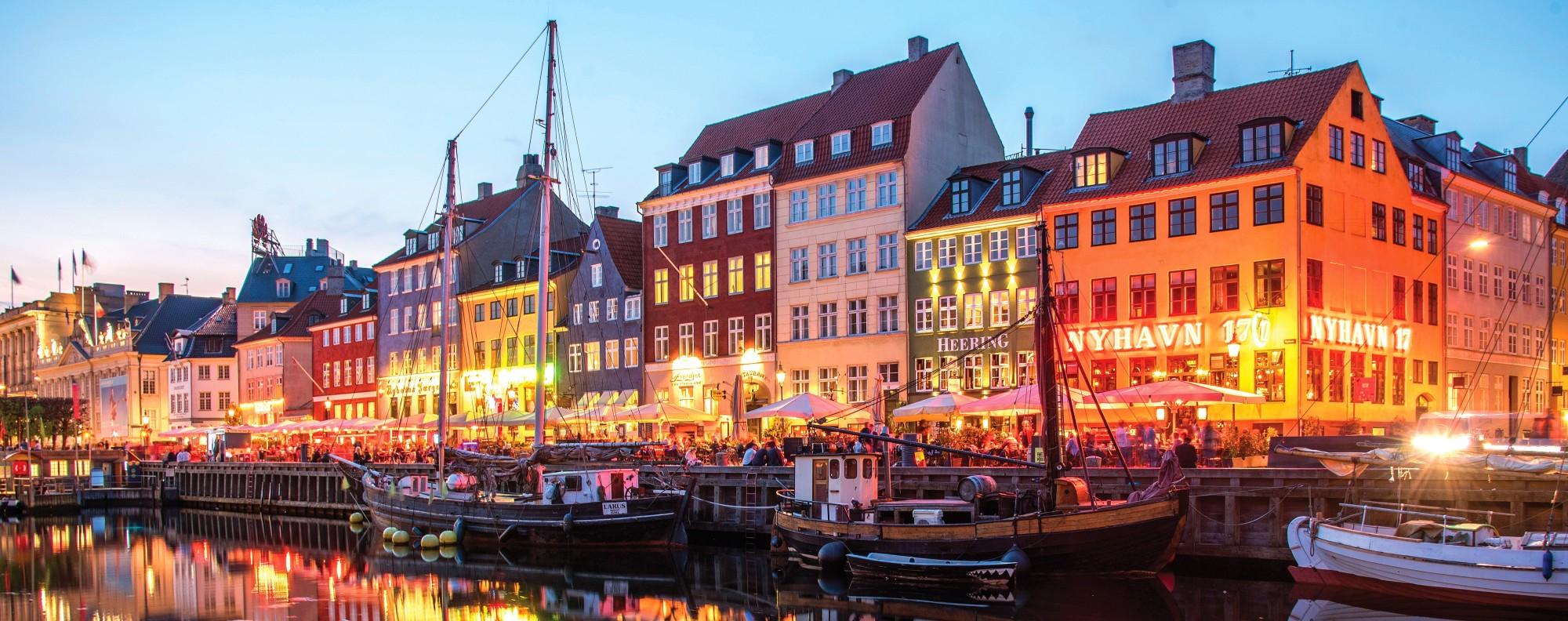 The Nyhavn district in Copenhagen, Denmark.