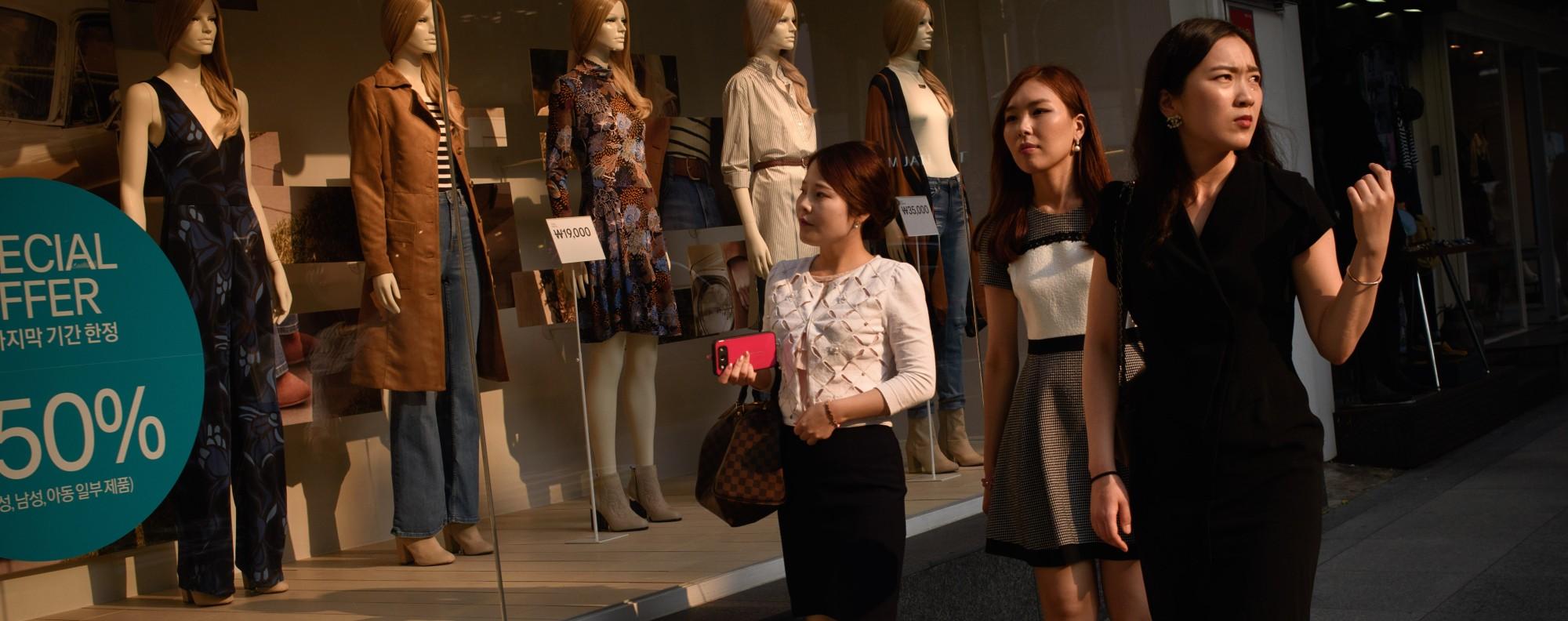 South Korean women shop in Seoul's upmarket Gangnam district. Picture: AFP