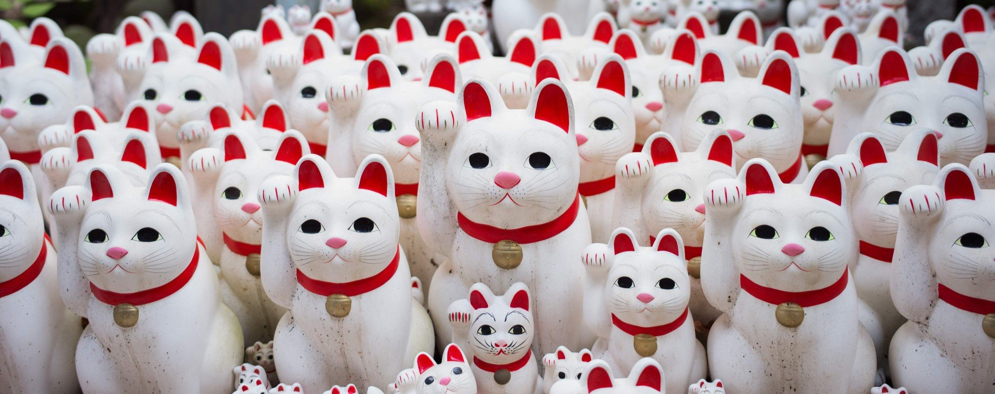 Cat figurines at Tokyo's Gotokuji temple. Photo: AFP