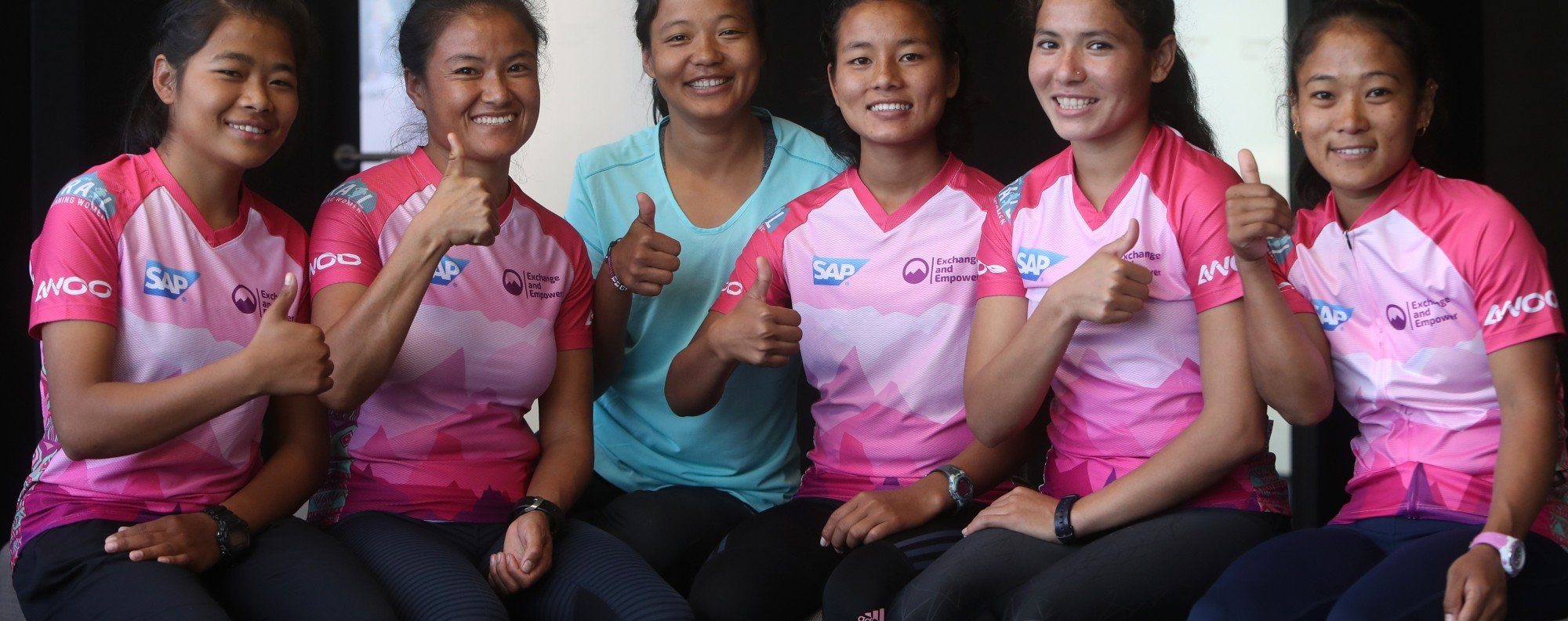 The first team of Nepalese women to run the Oxfam Trailwalker (from left): Humi Budha Magar, Chhechi Sherpa Rai, Mira Rai, Rashila Tamang, Sunmaya Budha and Chhoki Sherpa. Photo: Winson Wong