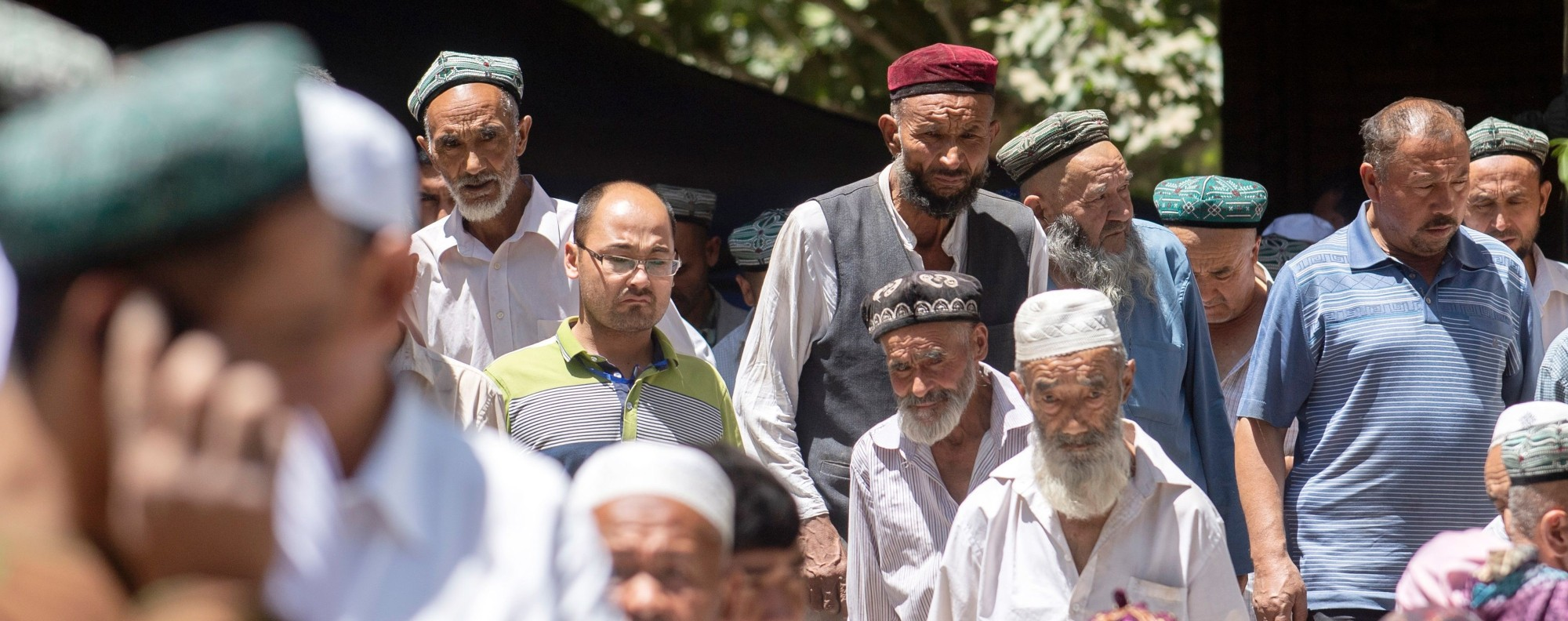 Muslims leave a mosque in Hotan, Xinjiang. Photo: AFP