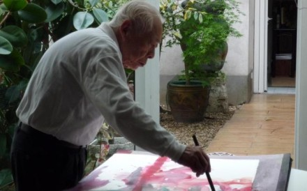 Zao Wou-ki at work on a watercolour before his health declined.