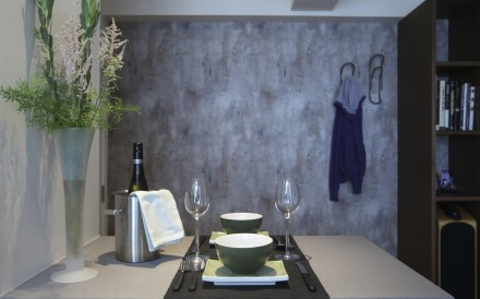 Dining area: The ''concrete'' wallpaper, by Carl Robinson, cost HK$780 a roll at Goodrich (2/F, Beverly House, 93 Lockhart Road, Wan Chai, tel: 2668 5757). Styling: David Roden. Pictures: Jonathan Wong